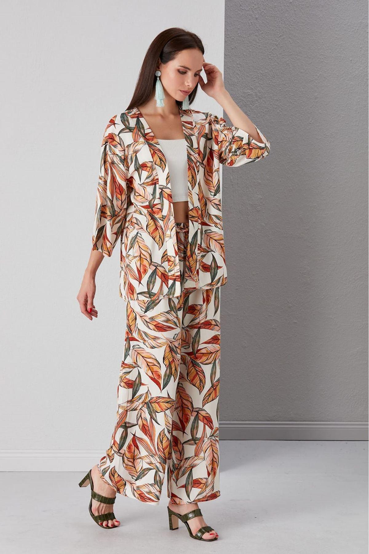 Yaprak Desen Kimono Ve Pantolon Takım - BEYAZ