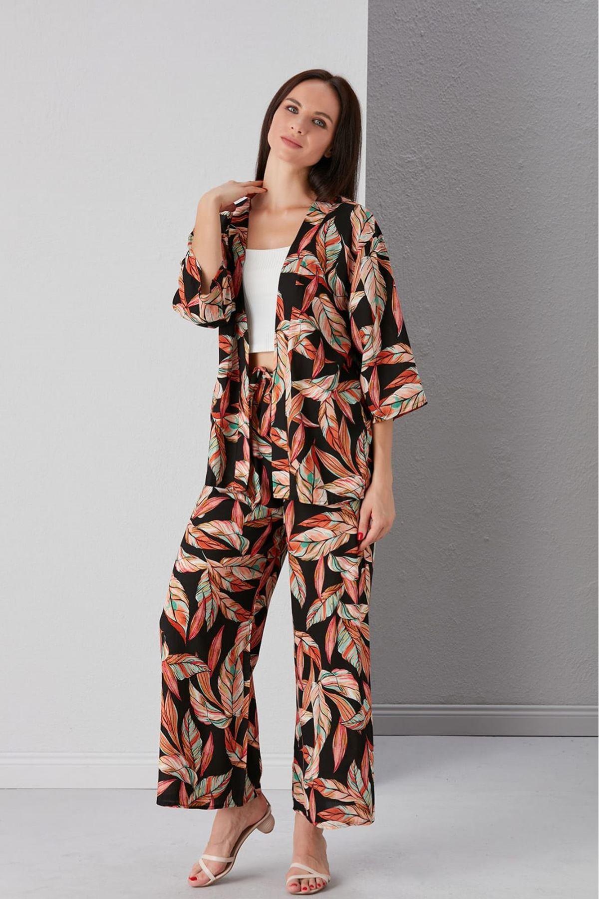 Yaprak Desen Kimono Ve Pantolon Takım - SİYAH