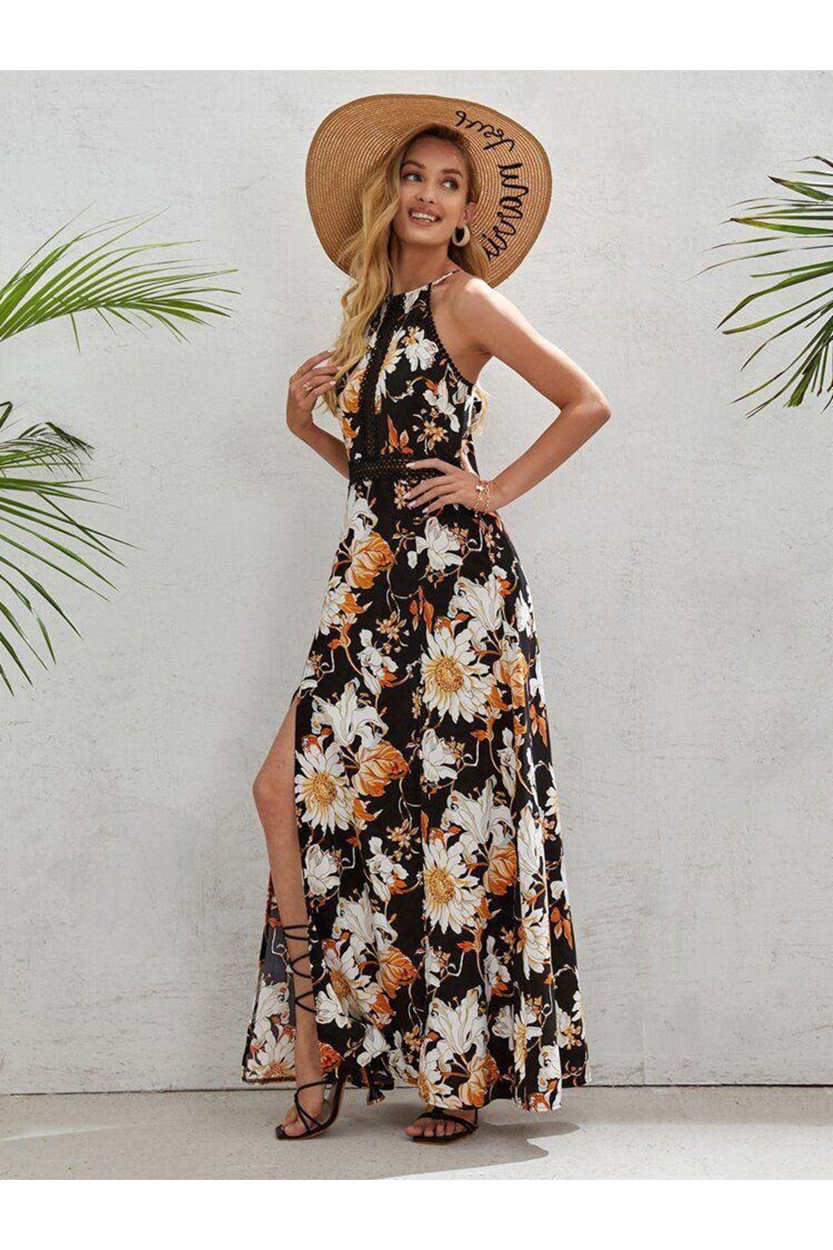 Sırt Çapraz Detaylı Yırtmaçlı Elbise  - SİYAH