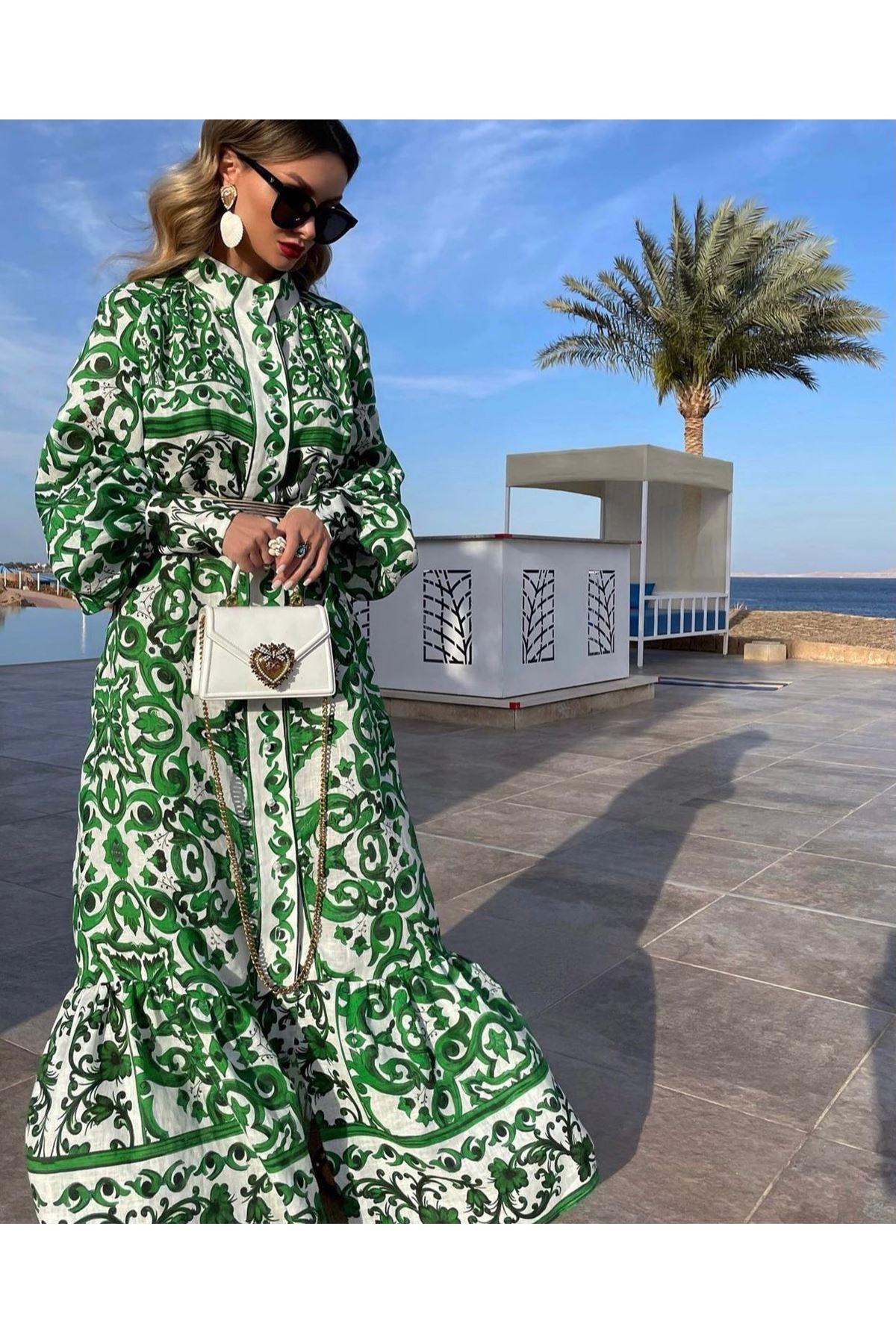 Otantik Desen Ottom Maxi Elbise - YEŞİL