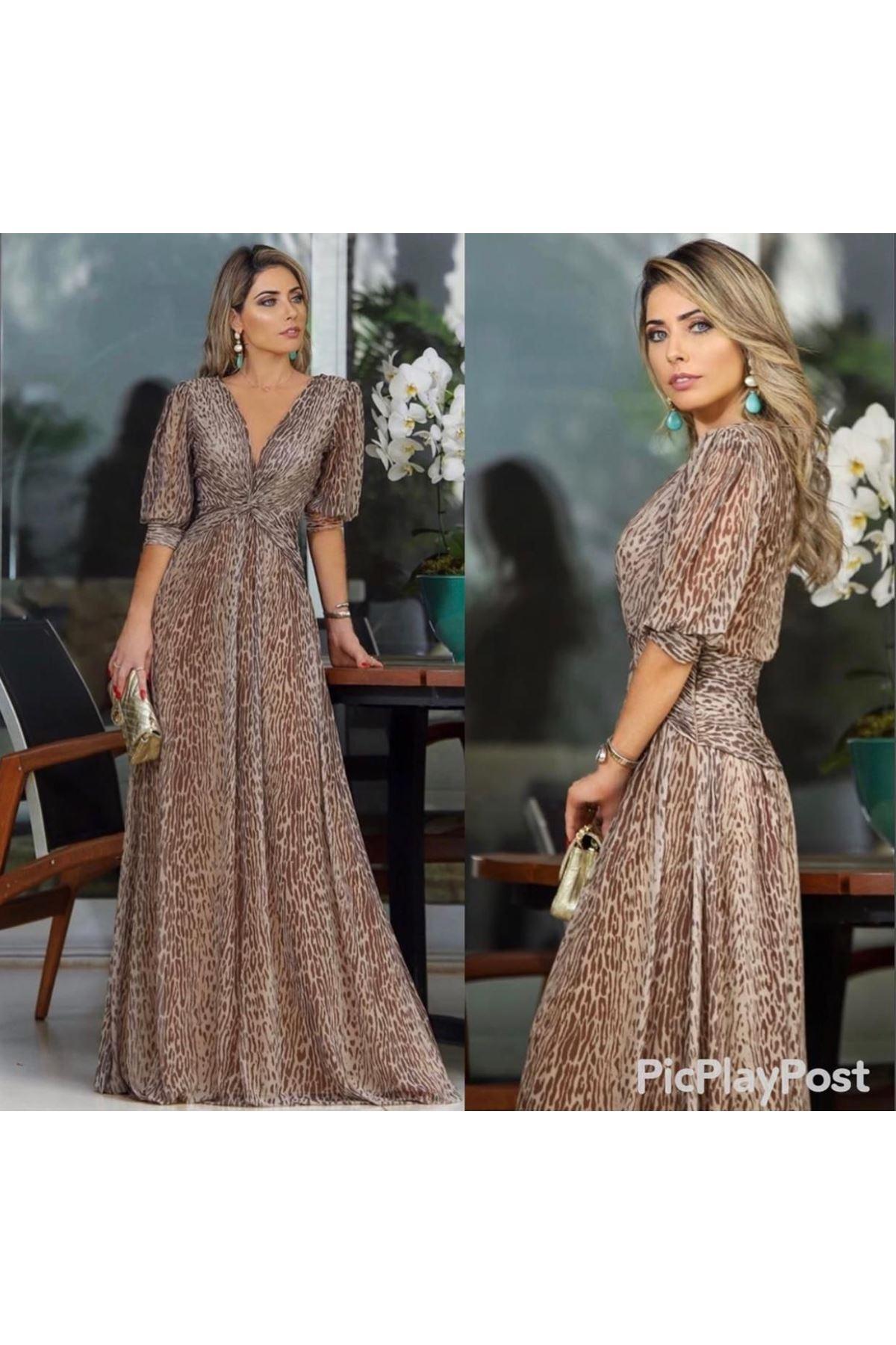 V Yaka Leopar Desenli Şifon Elbise - LEOPAR