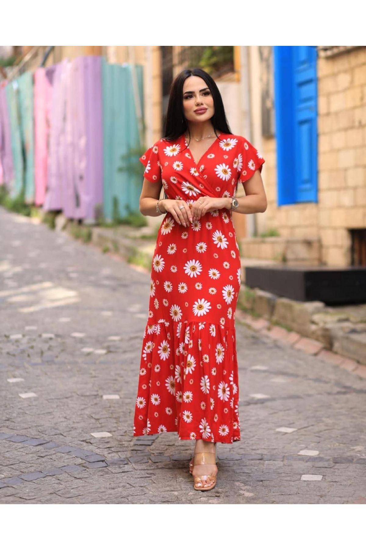 V Yaka Papatya Desen Elbise - KIRMIZI