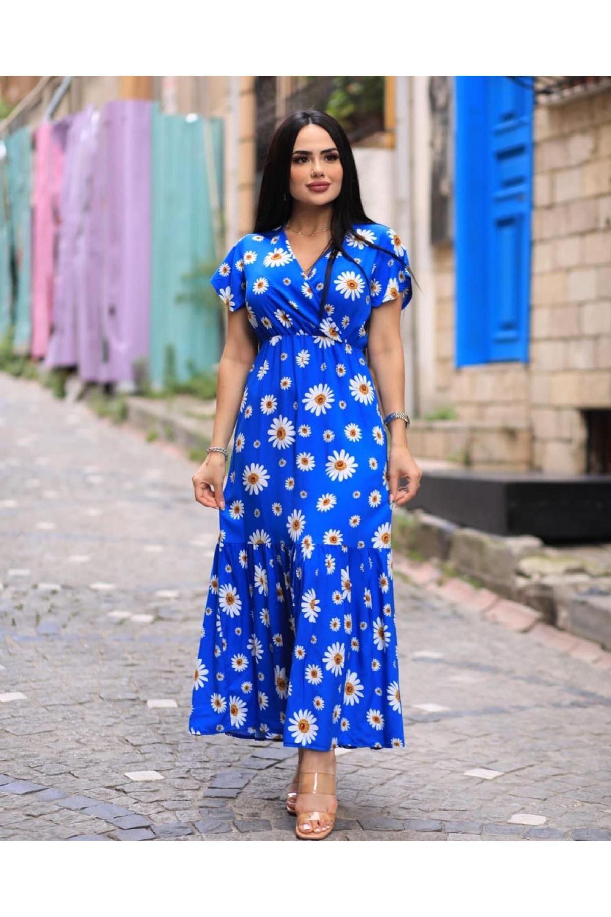 V Yaka Papatya Desen Elbise - MAVİ