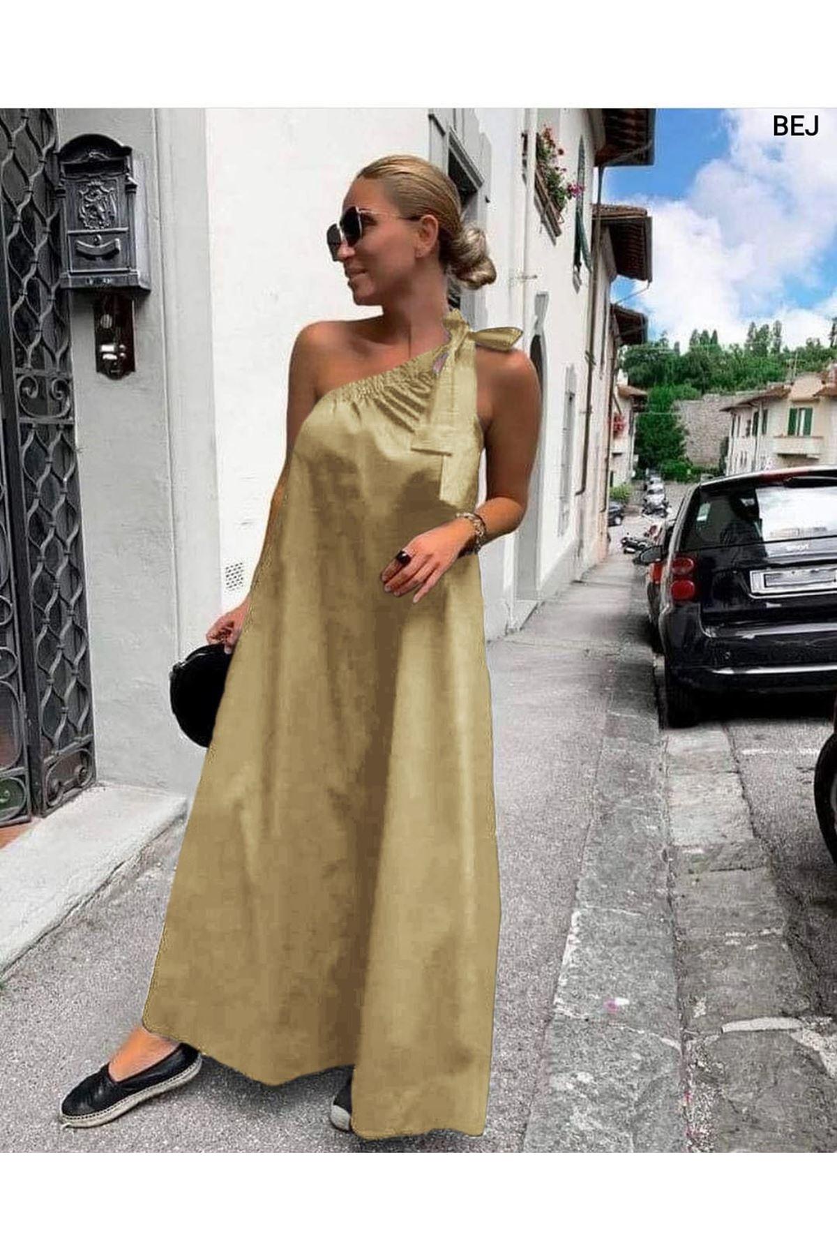 Tek Omuz Bağlamalı Elbise - BEJ