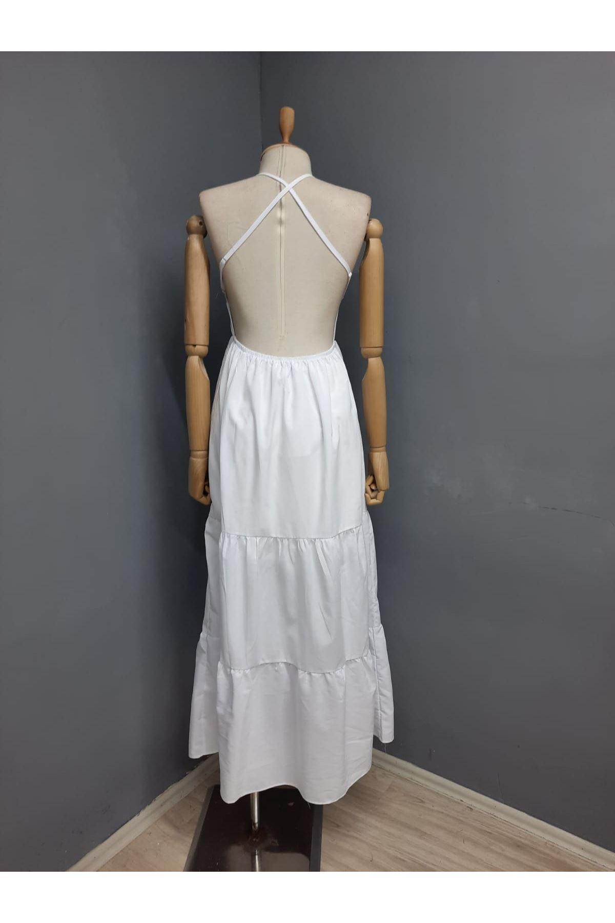 Sırt Çapraz Askılı Yırtmaçlı Elbise - BEYAZ