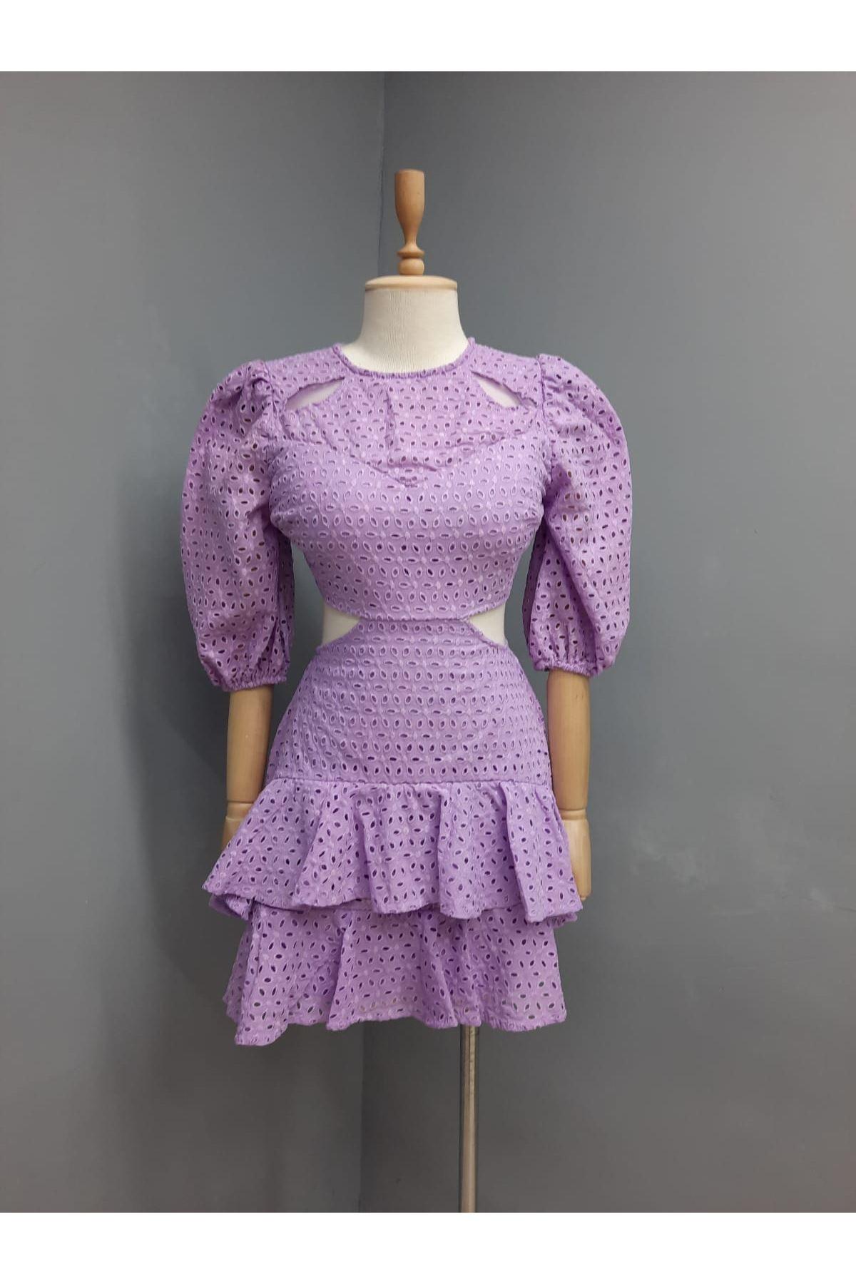 Dekolte Detaylı Etek Fırfırlı Elbise - MOR