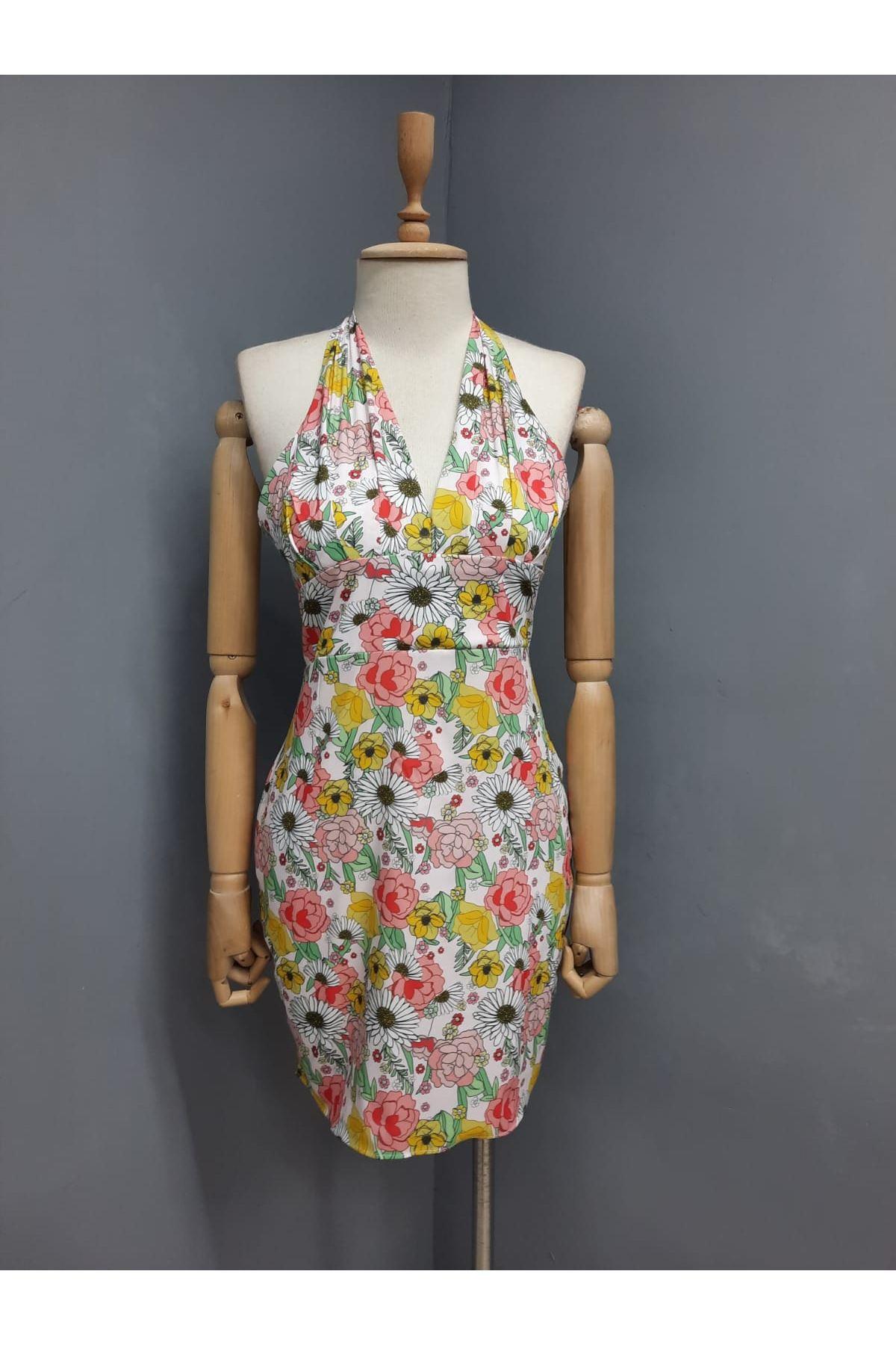 Boyun Bağlamalı Mini Elbise - MULTİ