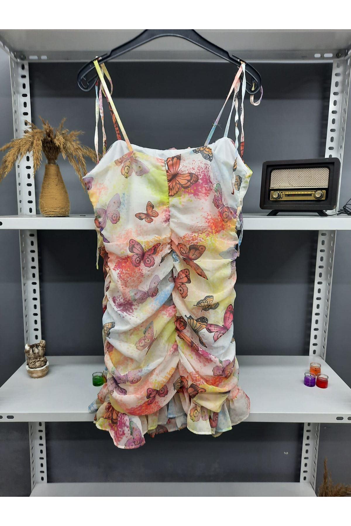 Kelebek Desenli Askılı Mini Elbise - MULTİ