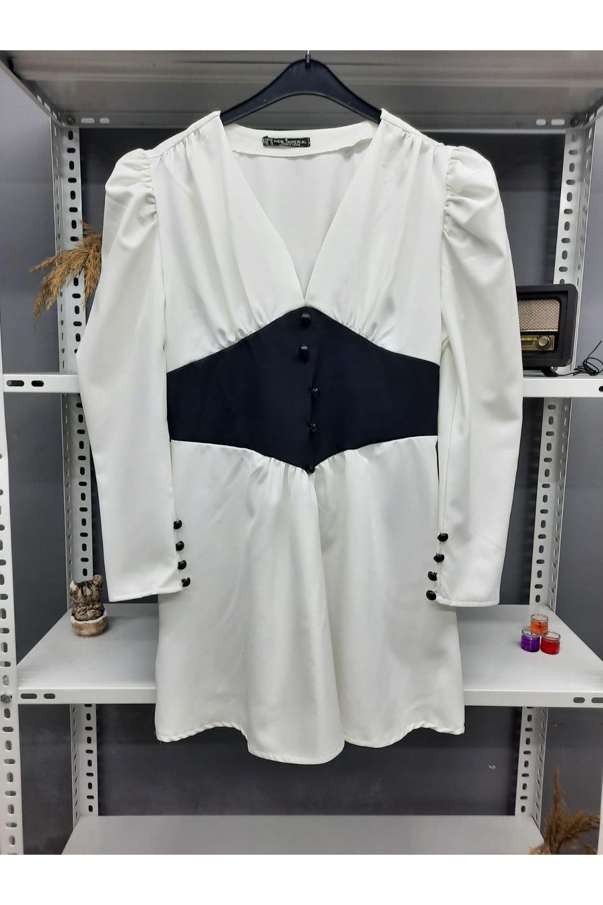 Düğme Detaylı Atlas Elbise - BEYAZ