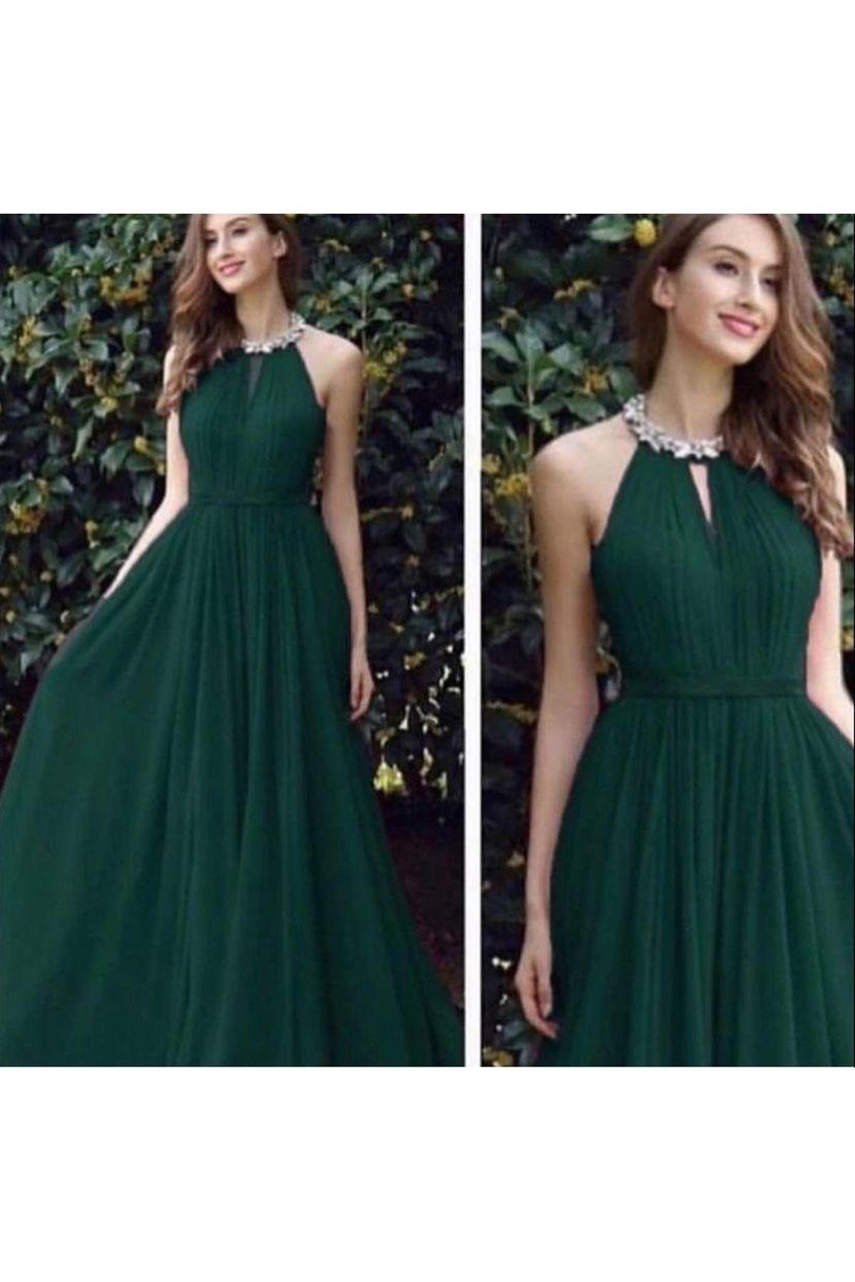 Boyun Detaylı Maxi Elbise - HAKİ
