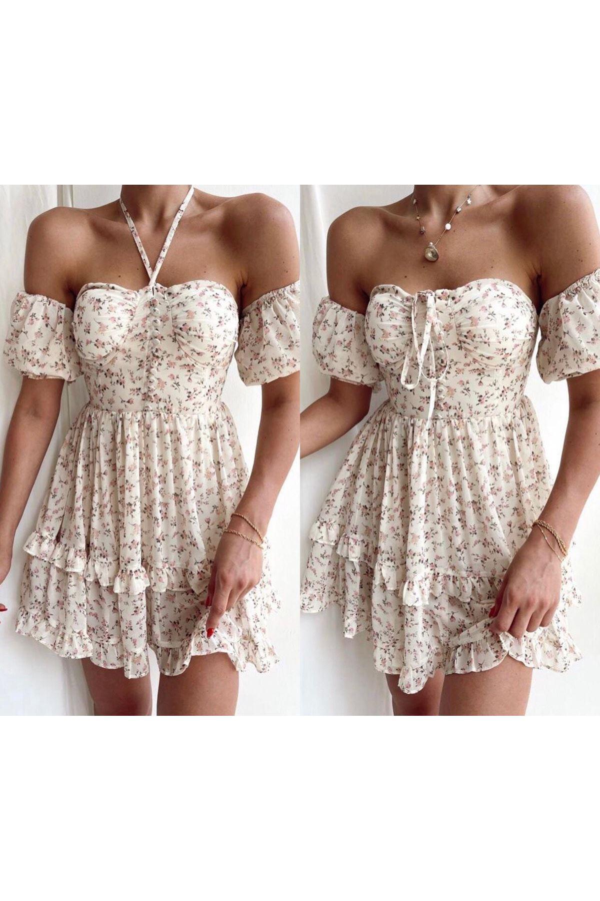 Çiçek Desen Astarlı Şifon Elbise - MULTİ