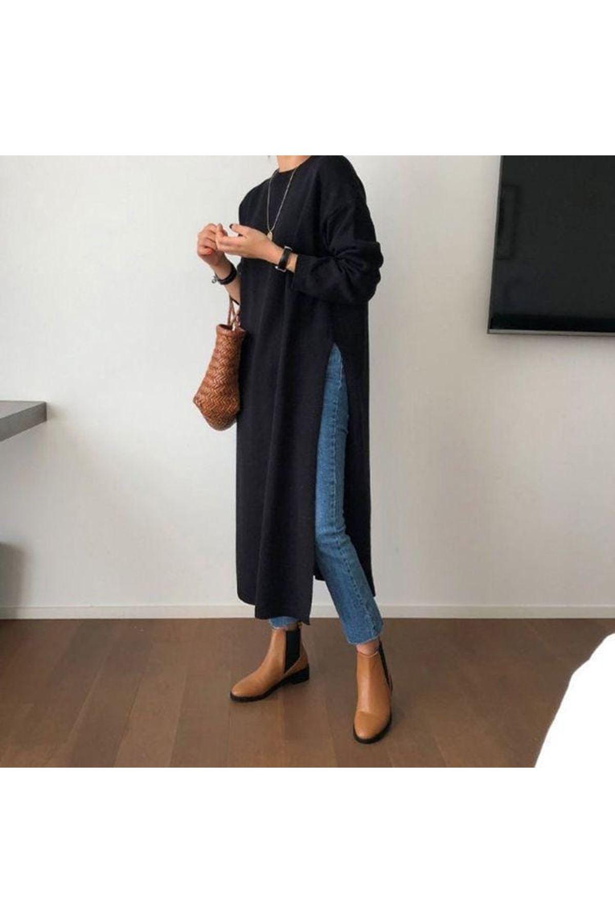 Yırtmaç Detaylı Tunik Elbise - SİYAH