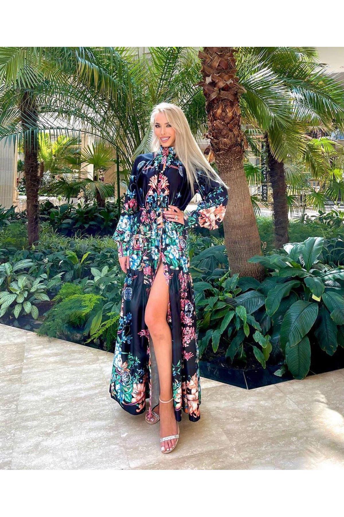 Düğme Detaylı İthal Ottom Maxi Elbise - SİYAH
