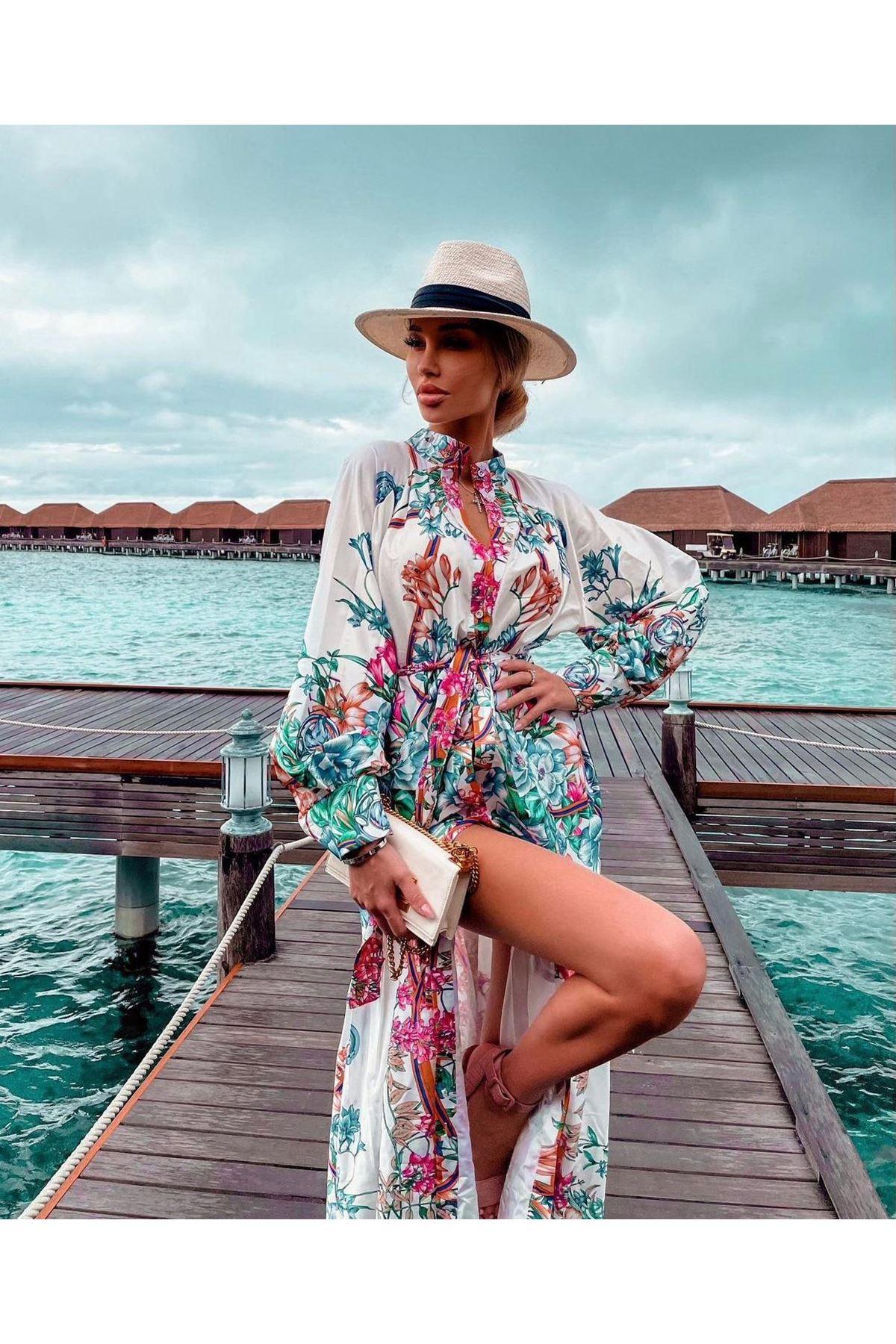 Düğme Detaylı İthal Ottom Maxi Elbise - BEYAZ