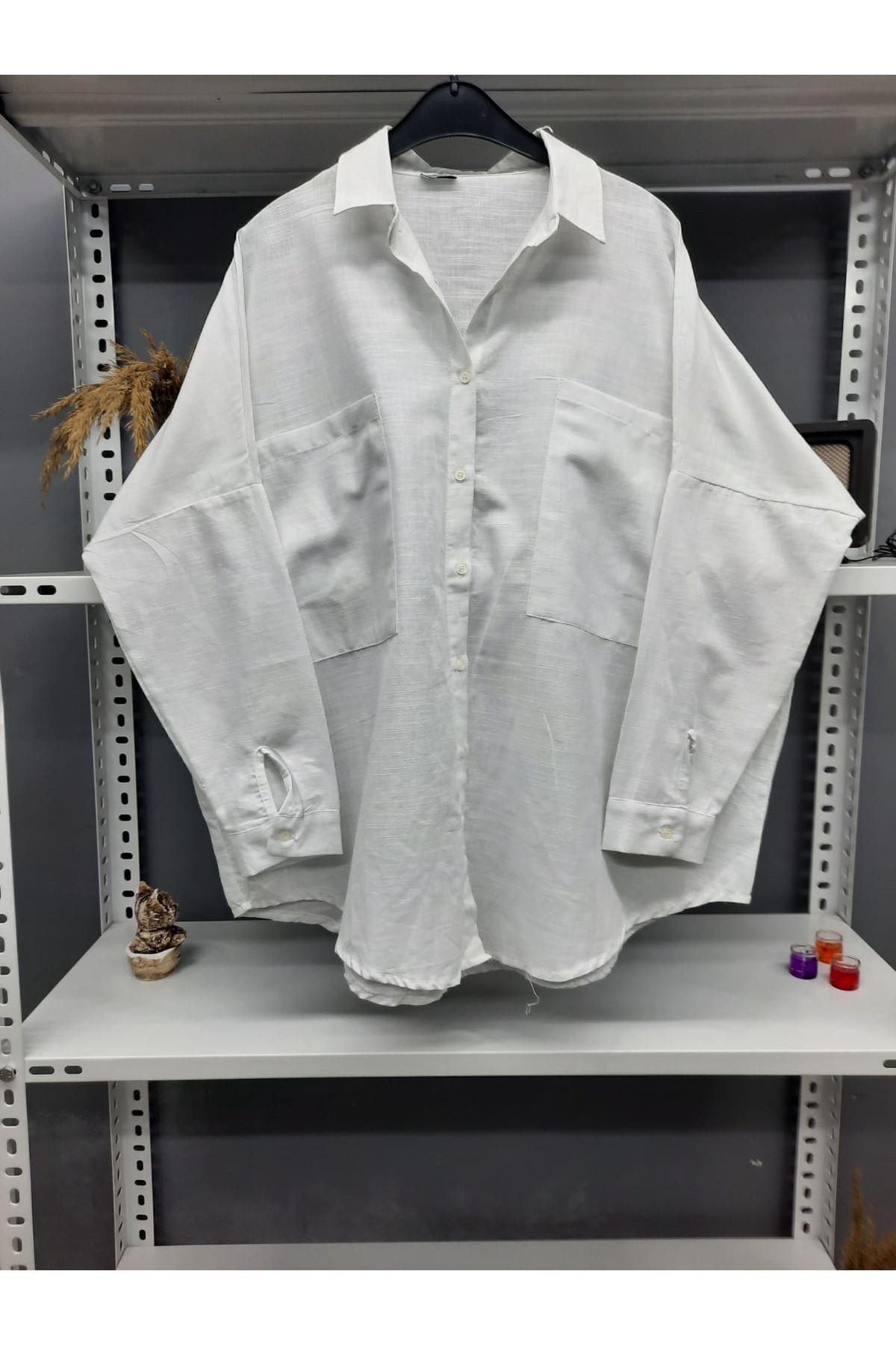 Cep Detaylı Gömlek - BEYAZ