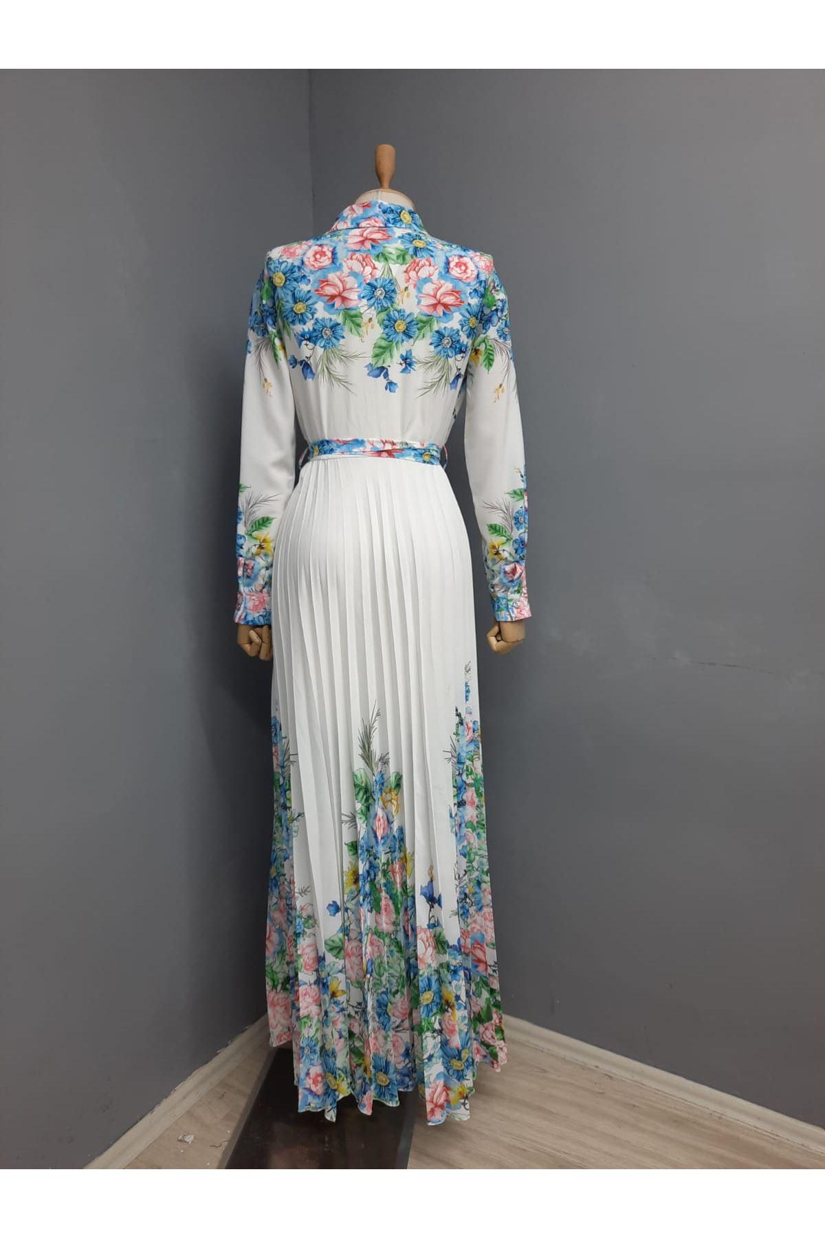 Etek Piliseli Çiçek Desen Ottom Elbise - BEYAZ