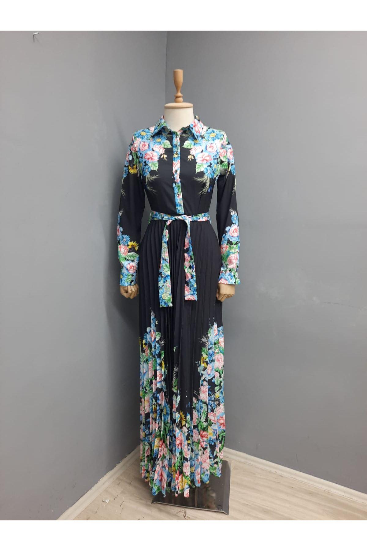 Etek Piliseli Çiçek Desen Ottom Elbise - SİYAH