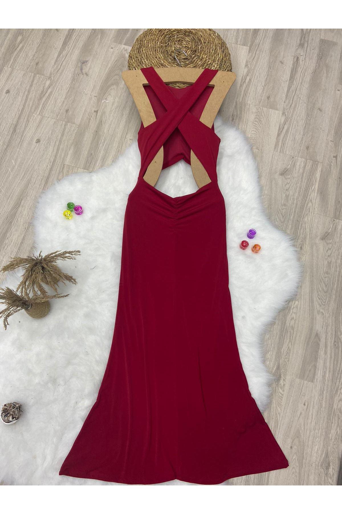 Dekolte Detaylı Büzgülü Maxi Elbise - KIRMIZI