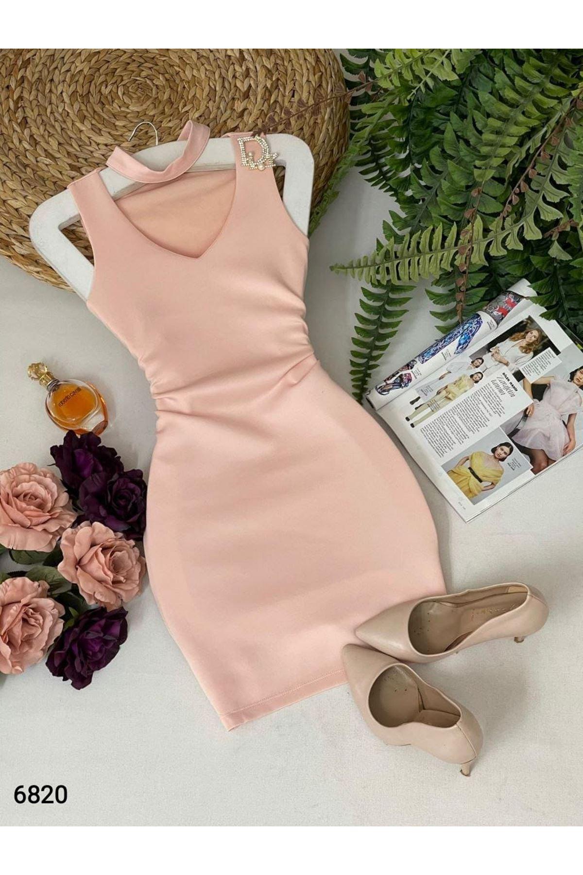 Omuz Detaylı Mini Elbise - PUDRA