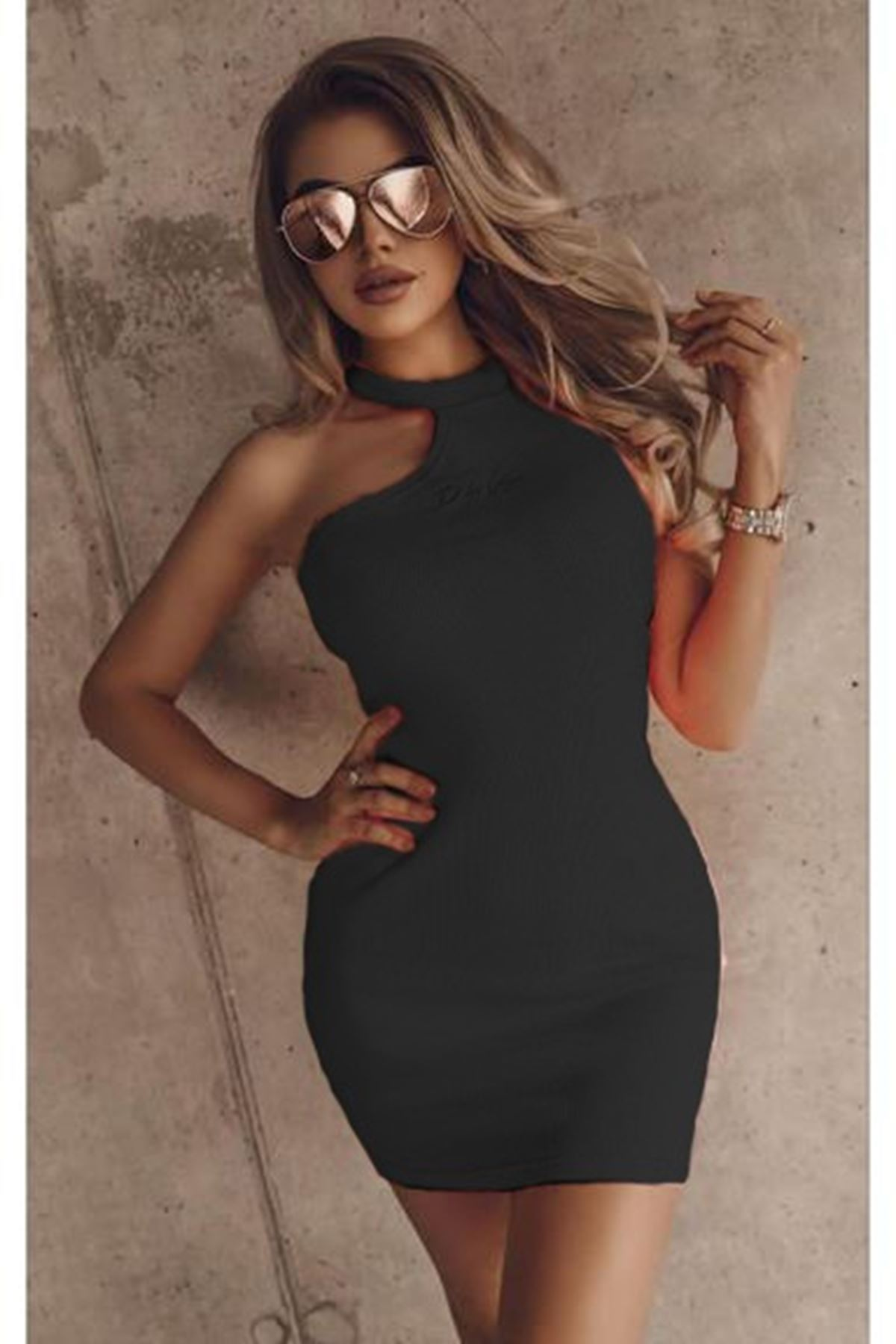 Tek Omuz Detaylı  Kaşkorse Elbise - SİYAH