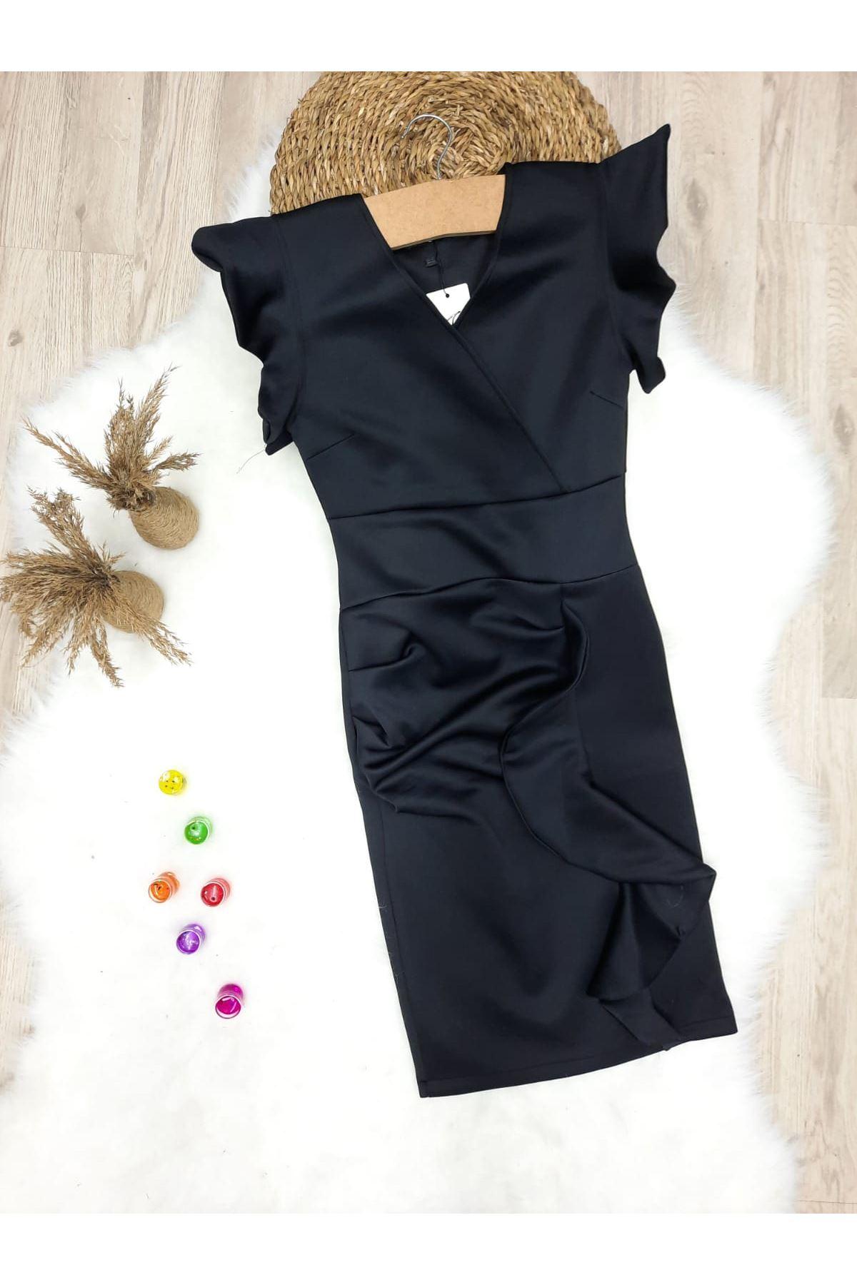 V Yaka Volanlı Elbise - SİYAH