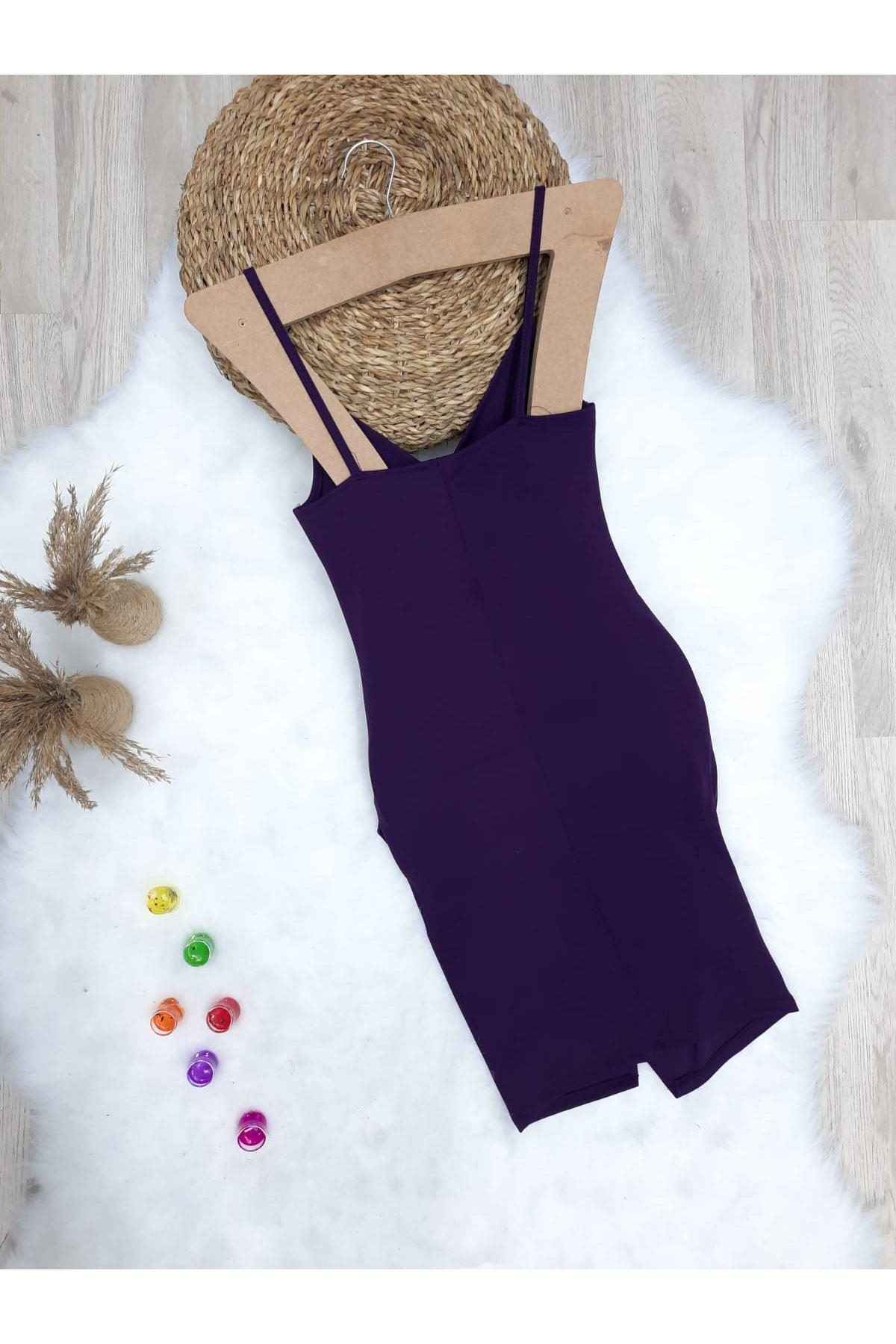 Yırtmaç Detaylı Askılı Krep Elbise - MÜRDÜM