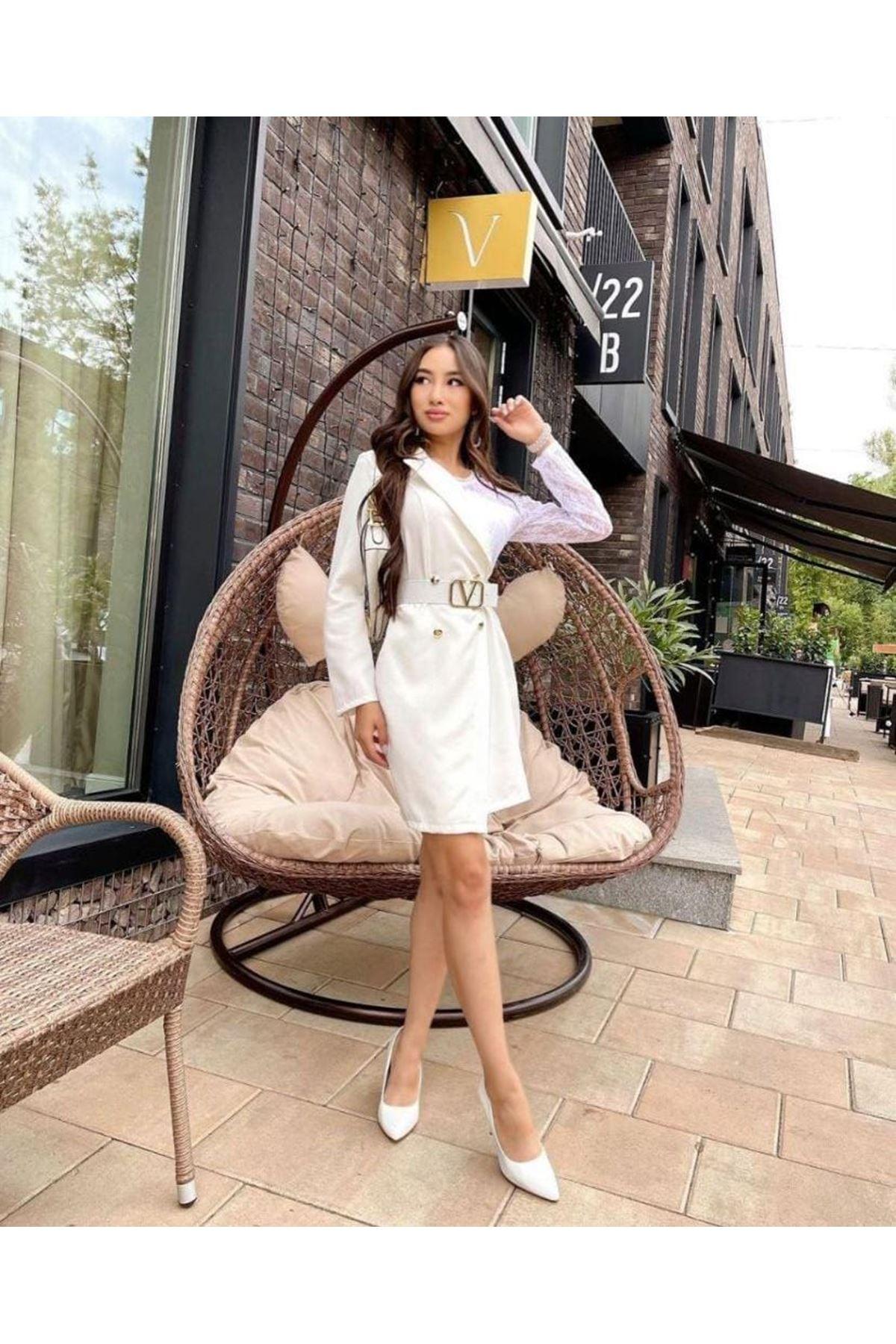 Dantel Detaylı Astarlı Ceket Elbise  - BEYAZ