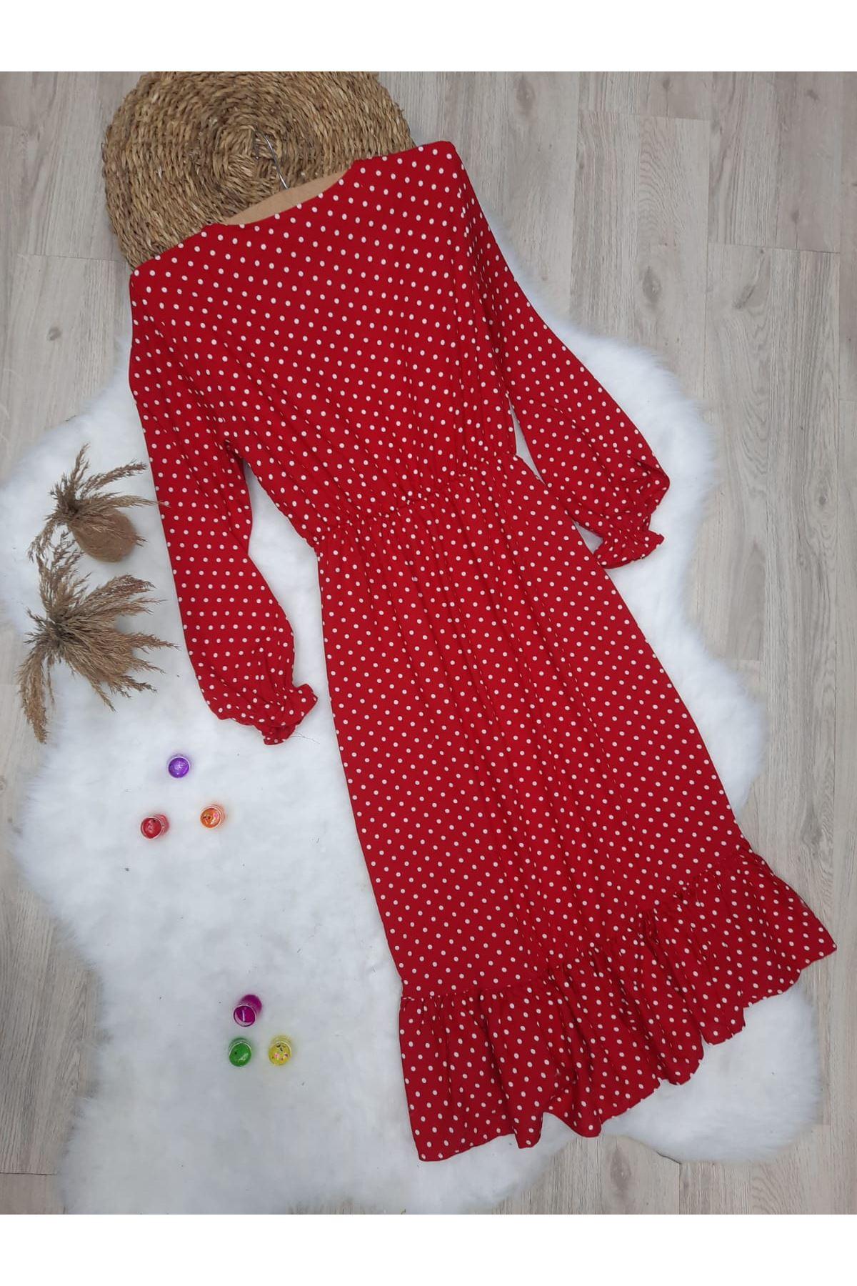 V Yaka Puanlı Yırtmaç Detaylı Elbise - KIRMIZI