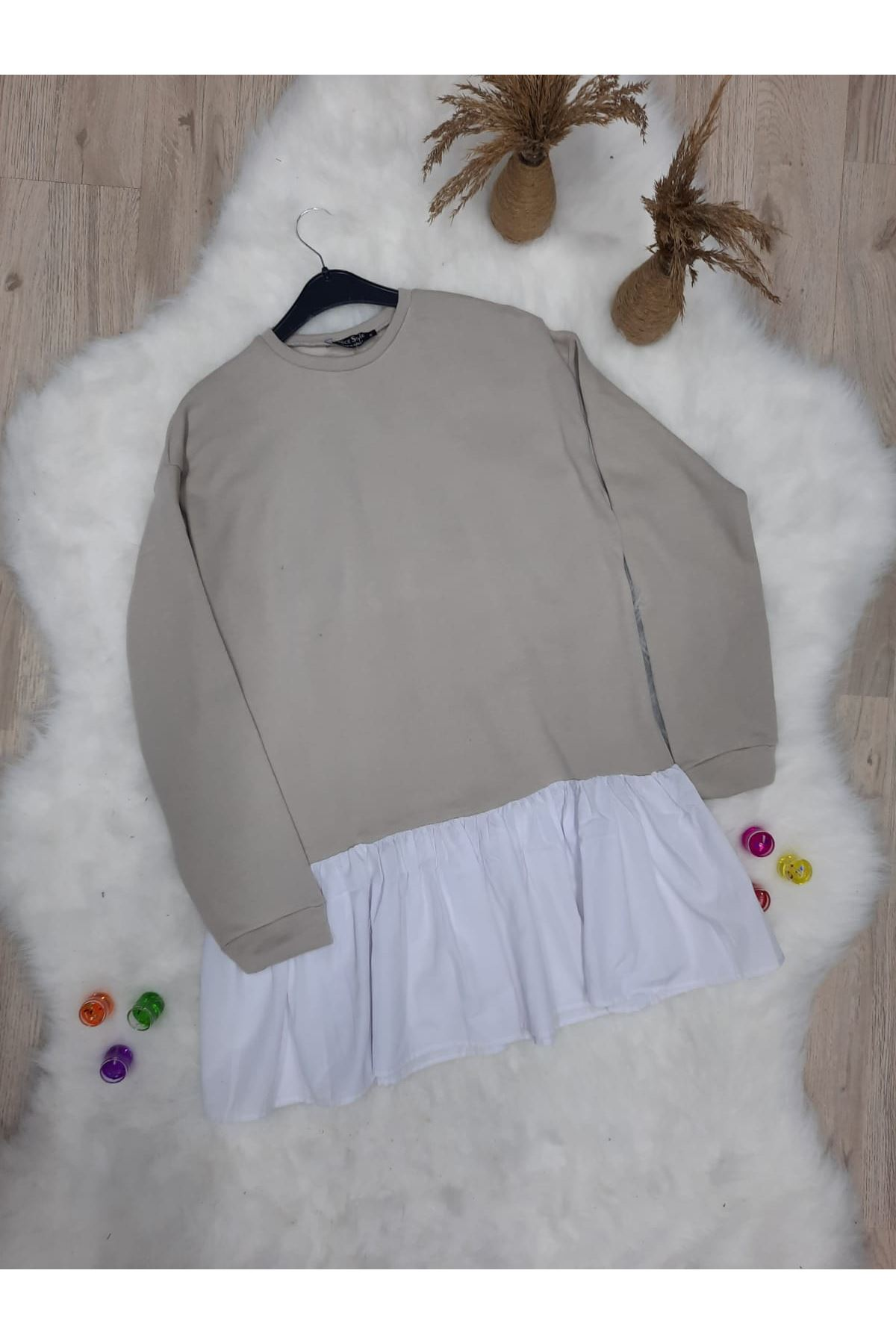 İki iplik Sweat Elbise - EKRU
