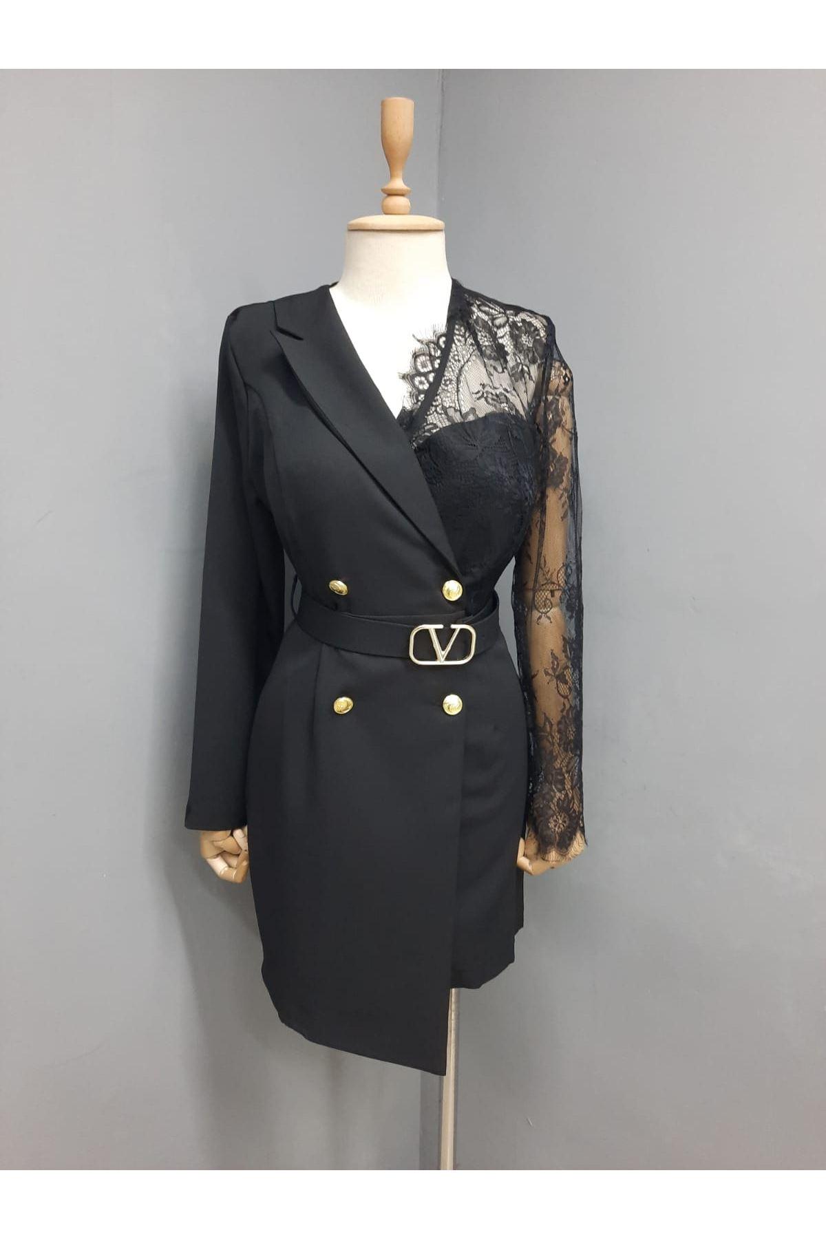 Dantel Detaylı Astarlı Ceket Elbise  - SİYAH