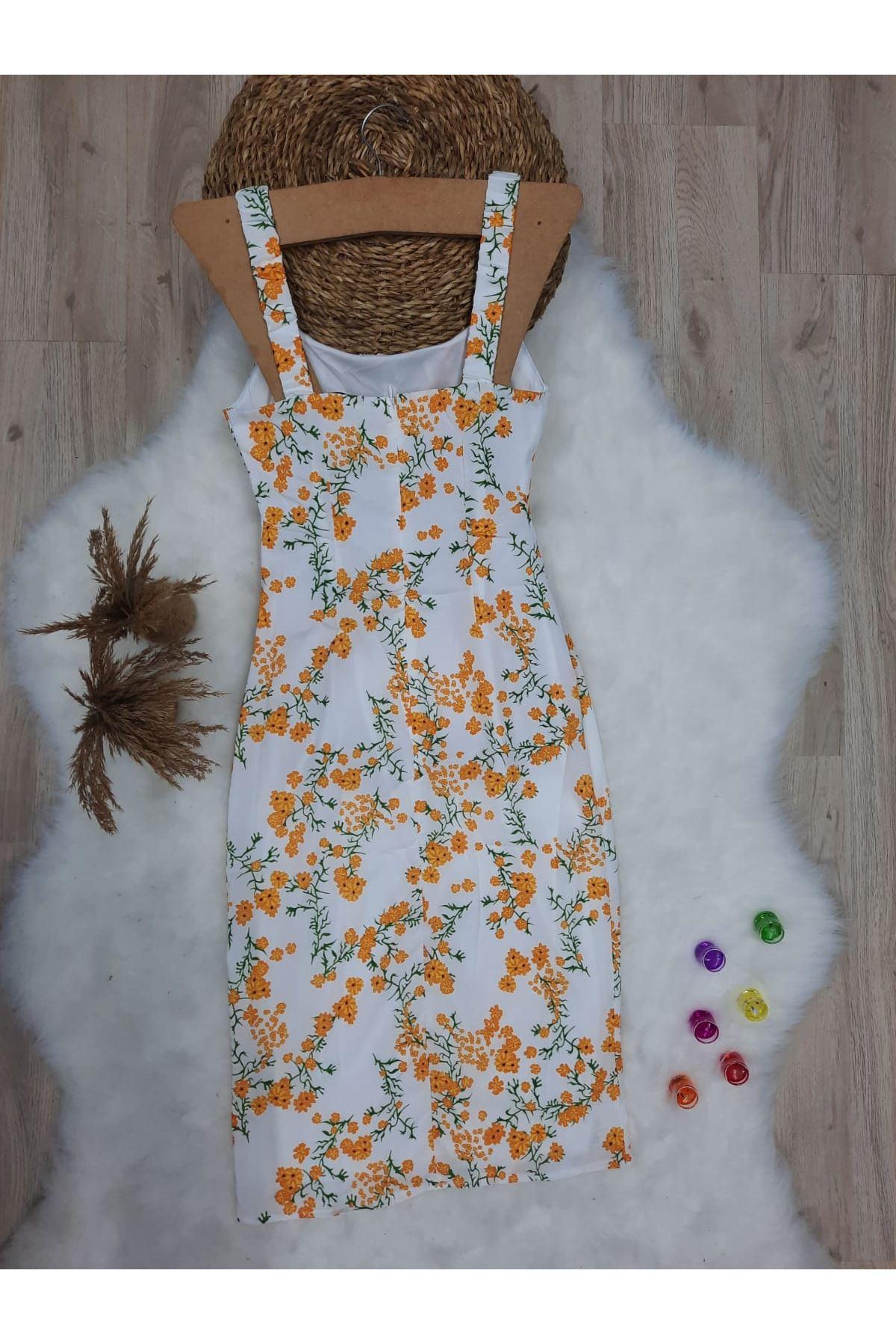 Çiçek Desen Askılı Elbise - BEYAZ