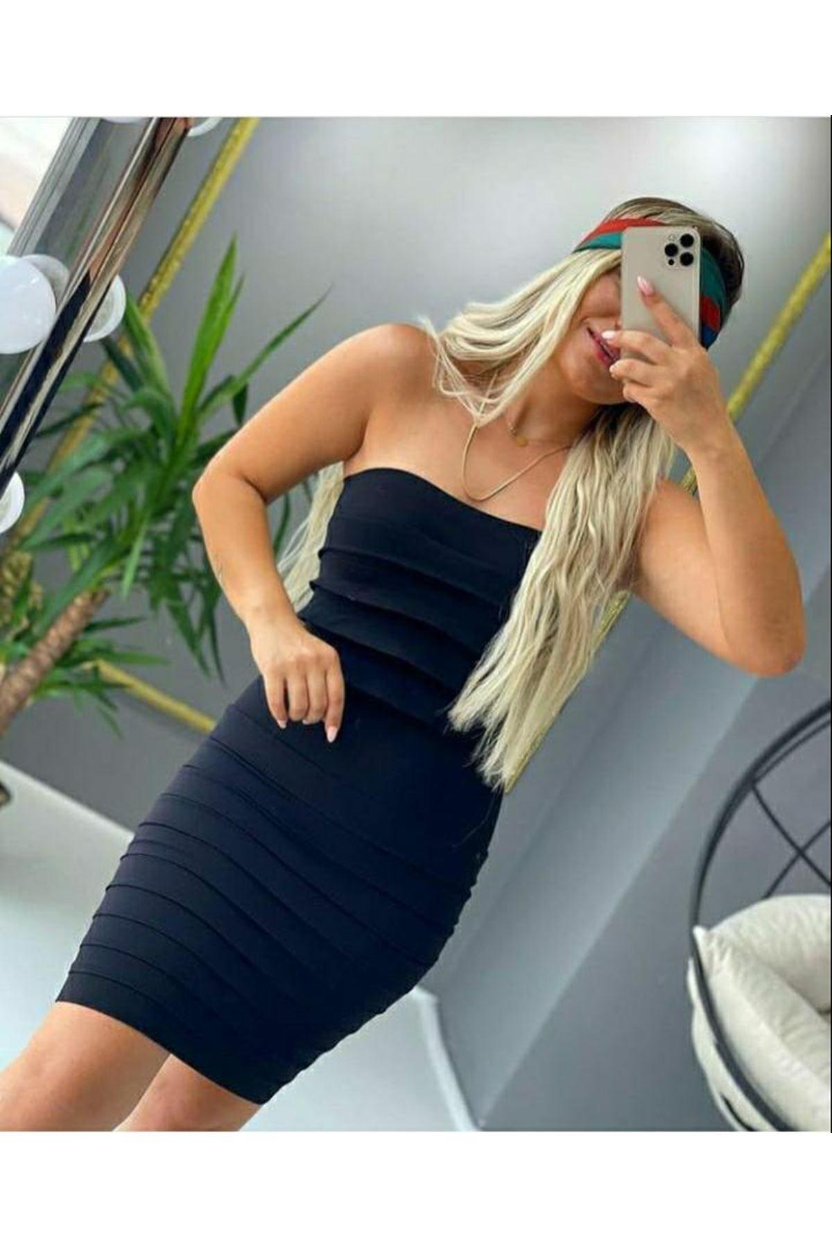 Dikişsiz Straples Elbise - SİYAH