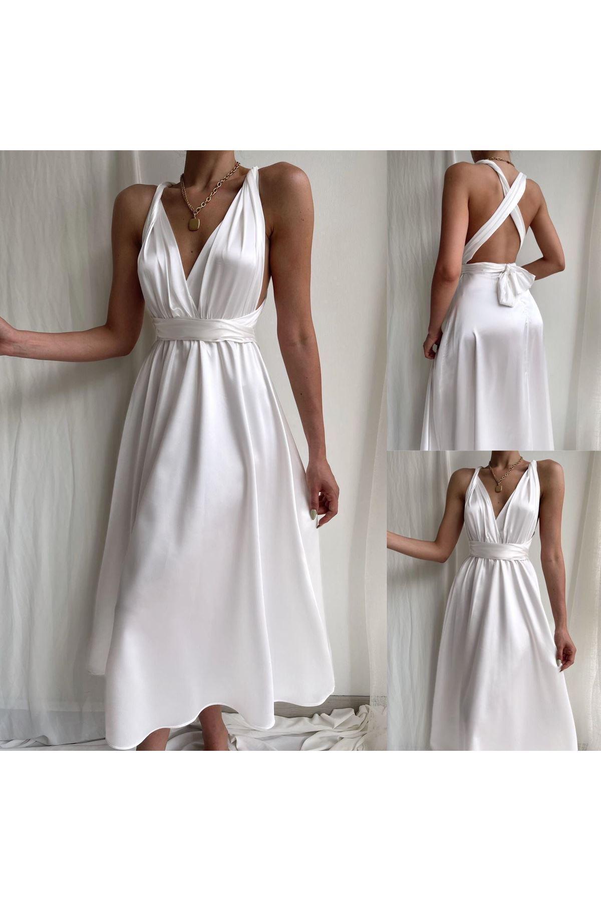 Sırt Bağlamalı Saten Elbise - BEYAZ