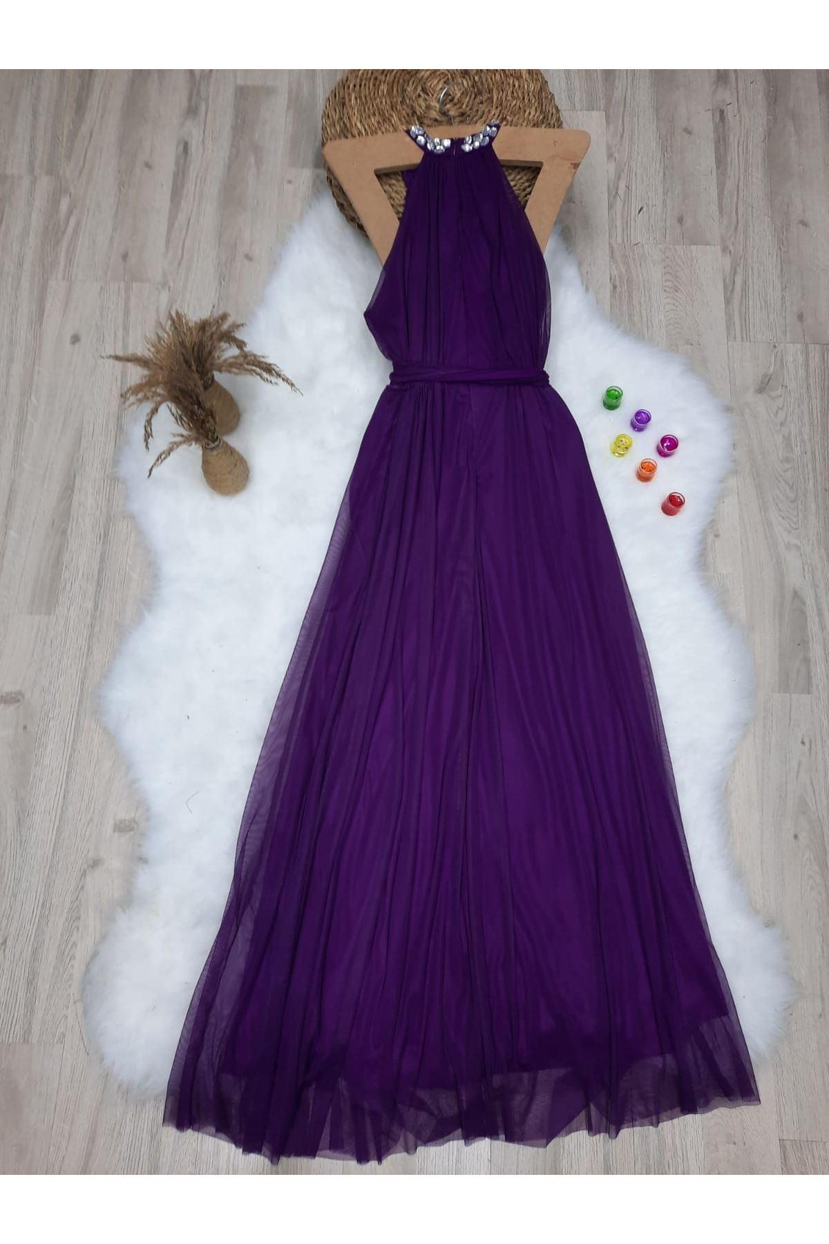 Boyun Detaylı Maxi Elbise - MÜRDÜM