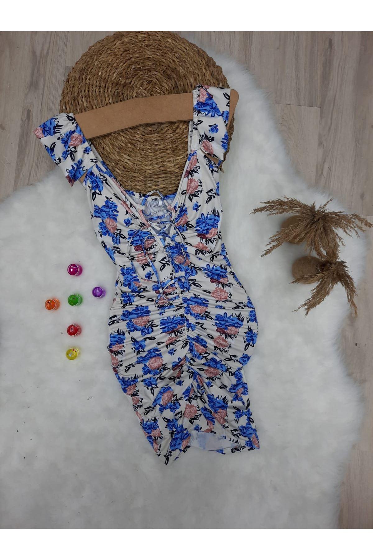 Dijital Baskılı Kol Fırfırlı Elbise - MULTİ
