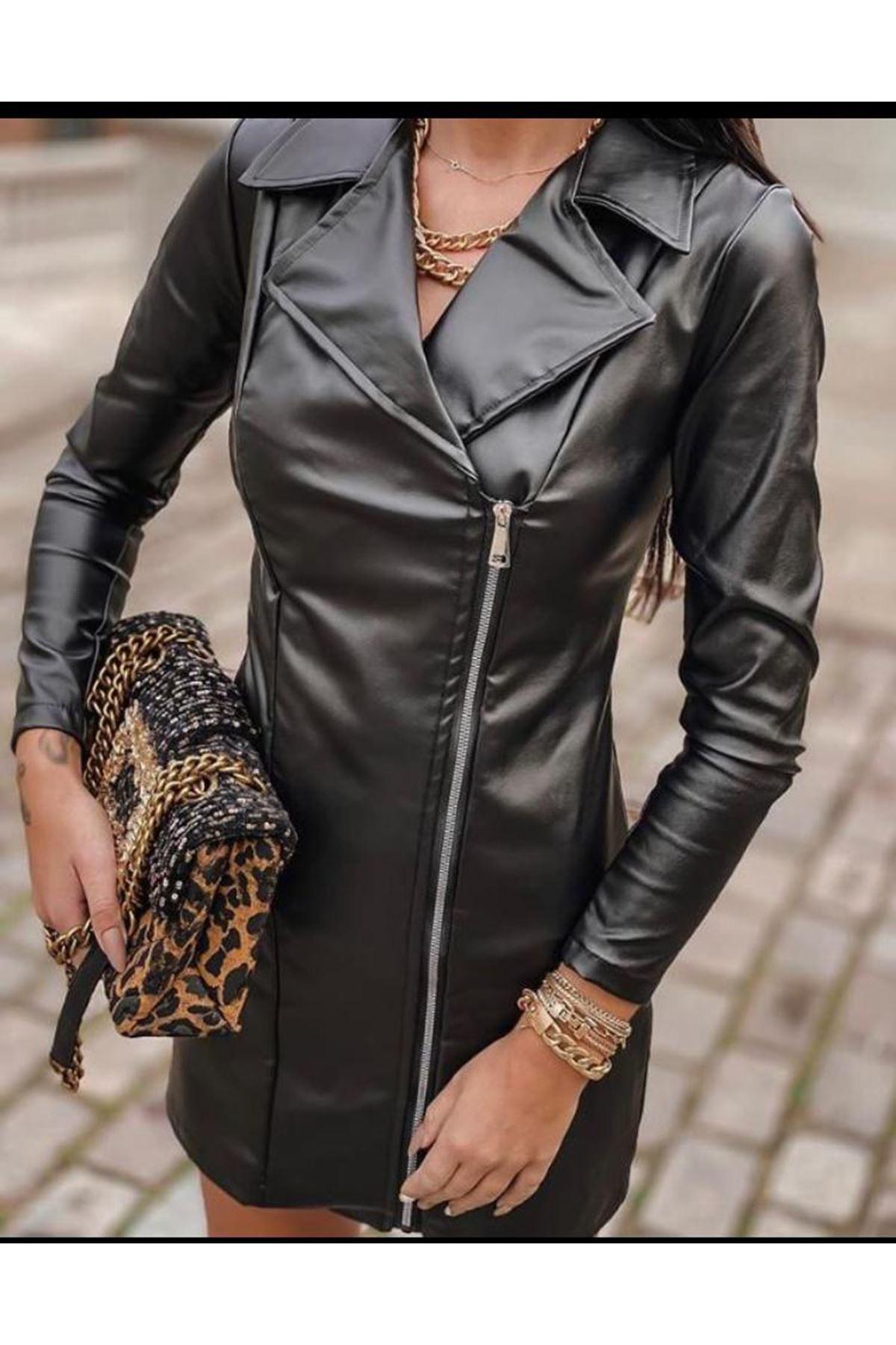 Fermuar Detay Tasarım Deri Elbise - Siyah