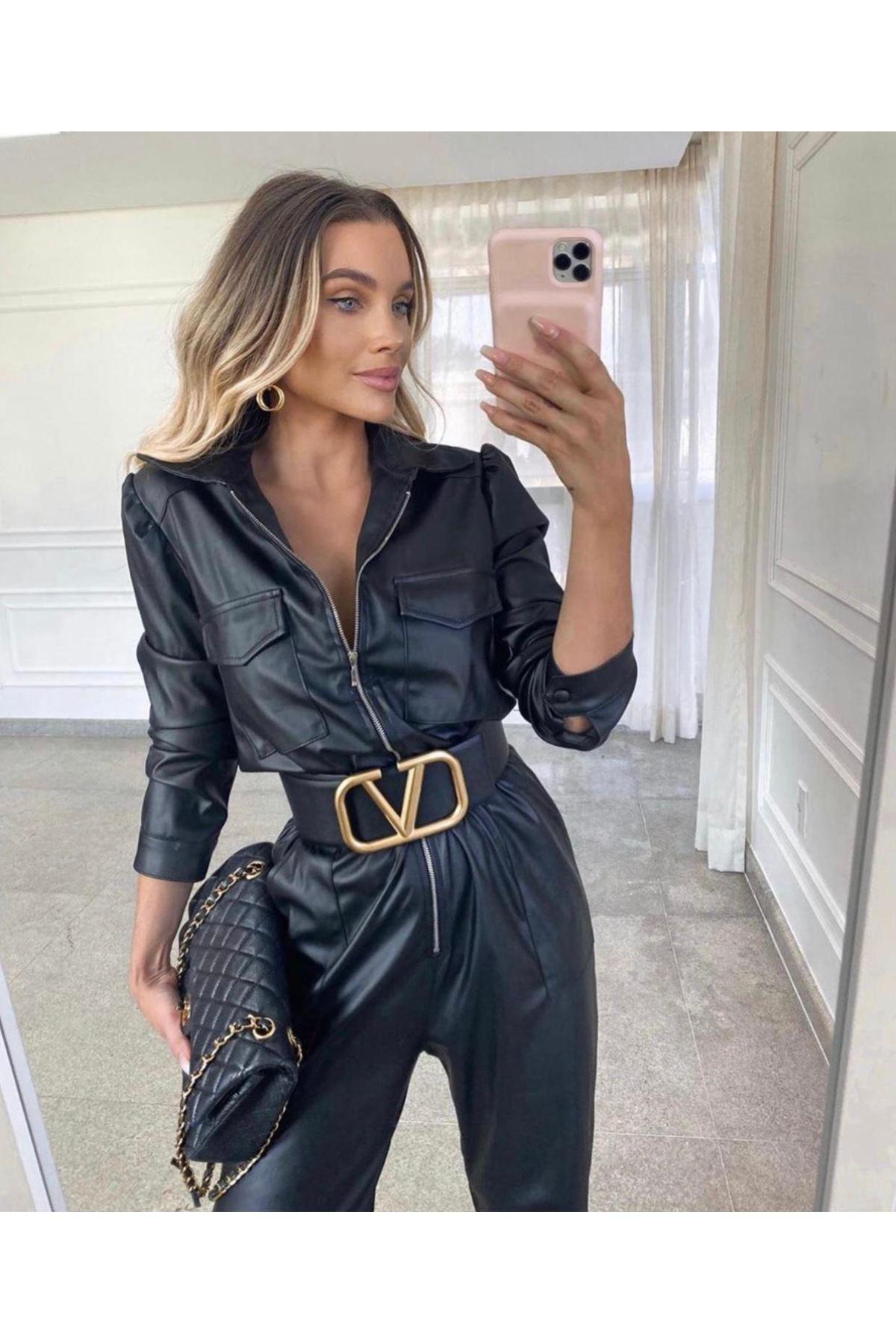 İthal Şardonlu Zara Deri Tülum - Siyah