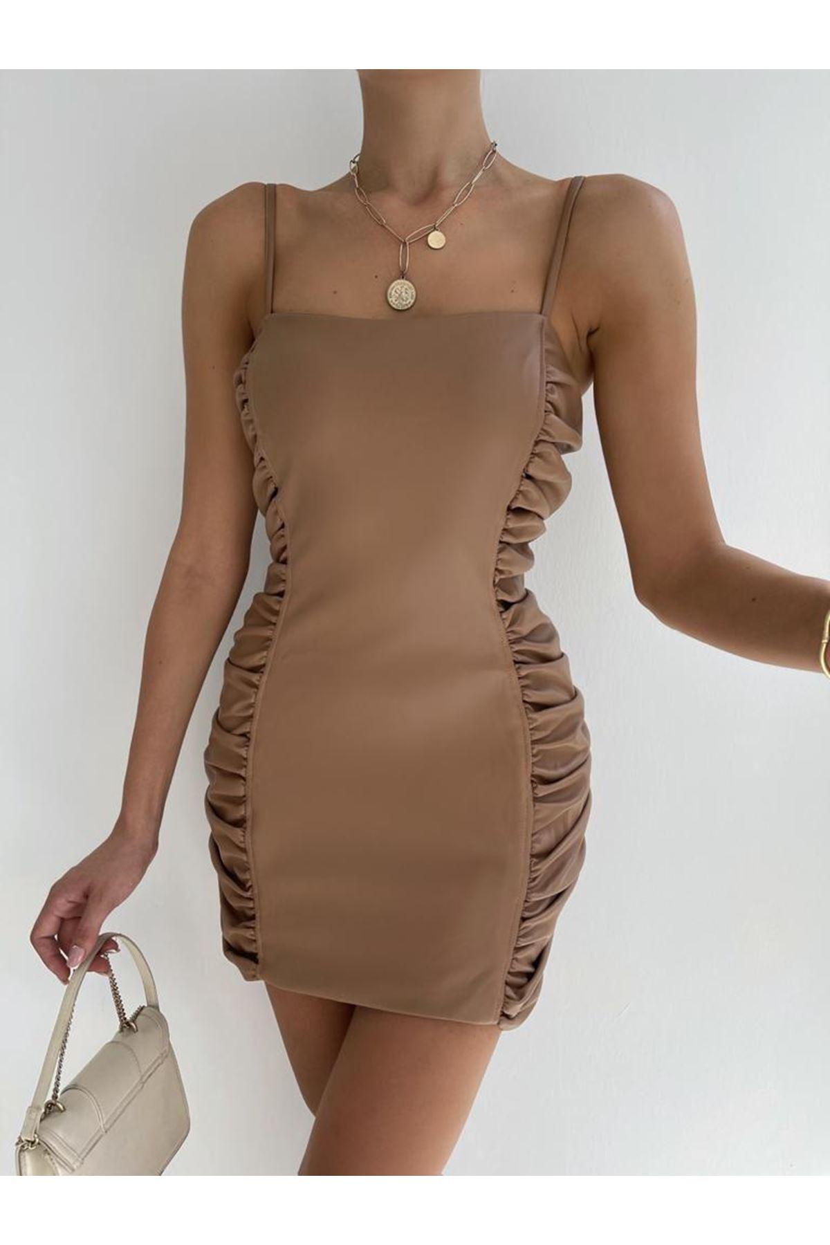 Zara Model  Büzgü Detay Askılı Elbise - Kahve