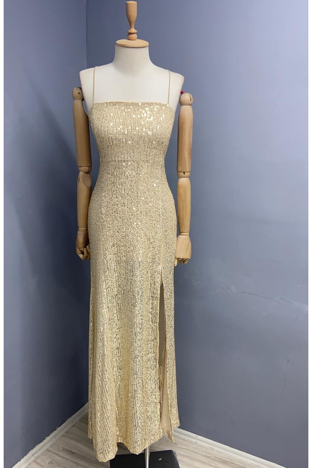 ZR Model Pul Payet Elbise - GOLD