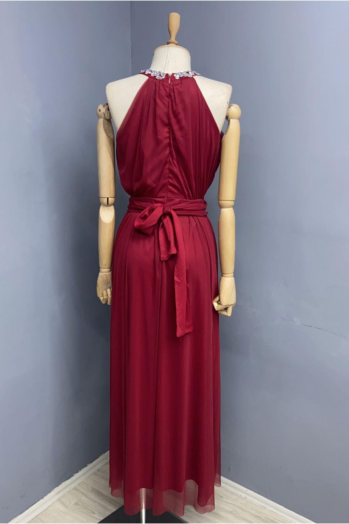 Boyun Detaylı Maxi Elbise - KIRMIZI