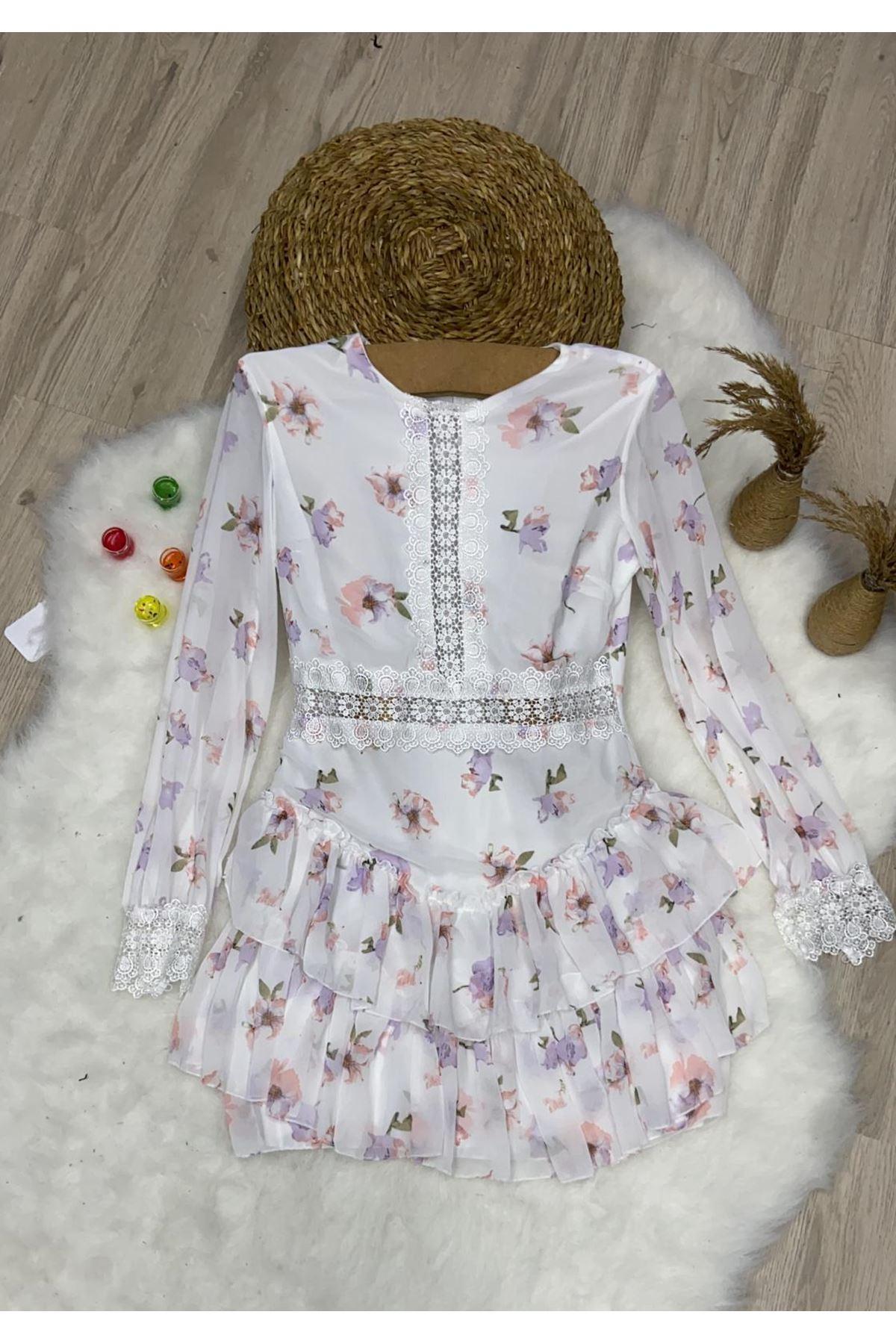 İthal Multi Kumaş Dantel Detaylı Elbise - BEYAZ