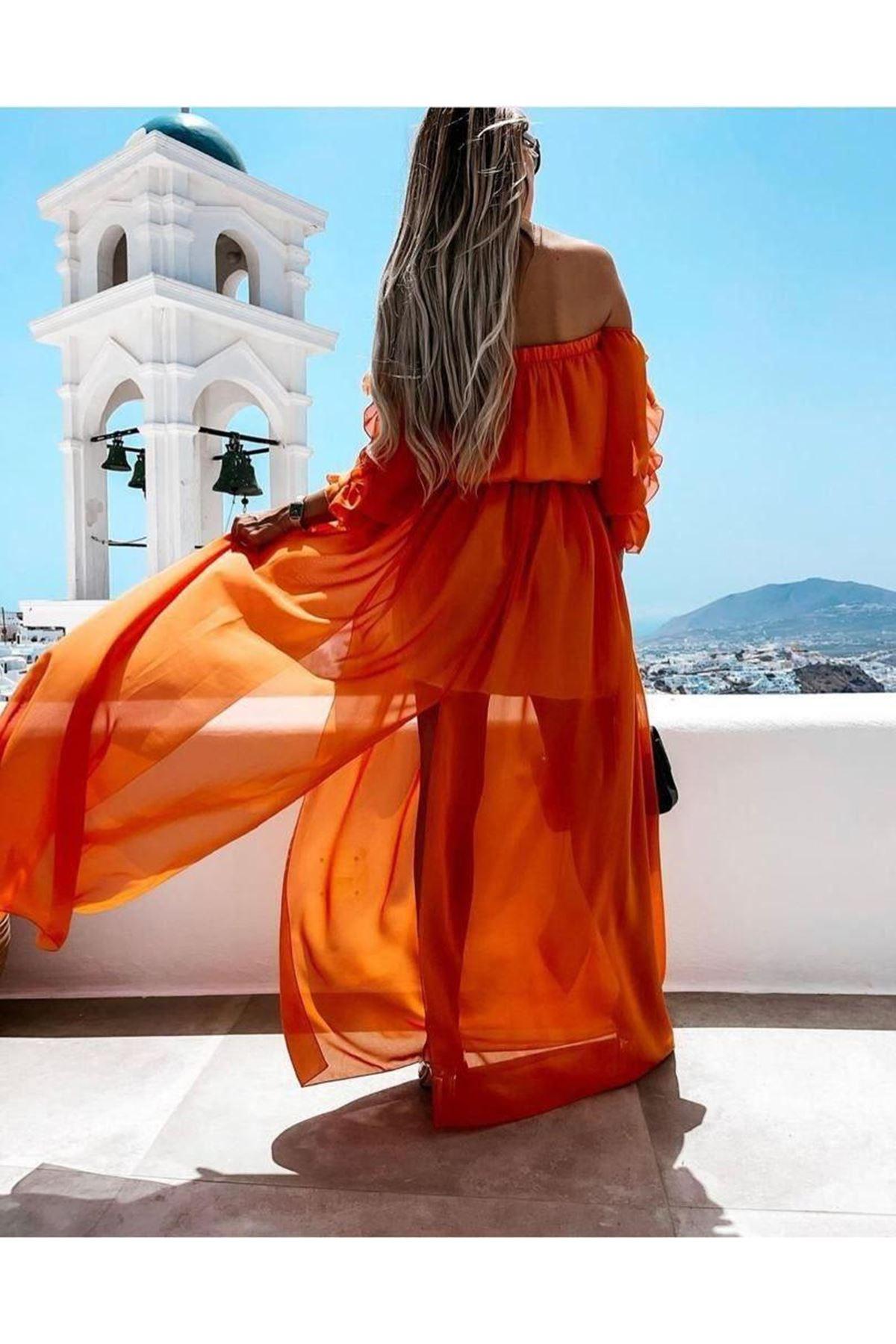 Madonna Yaka Şifon Elbise - Turuncu