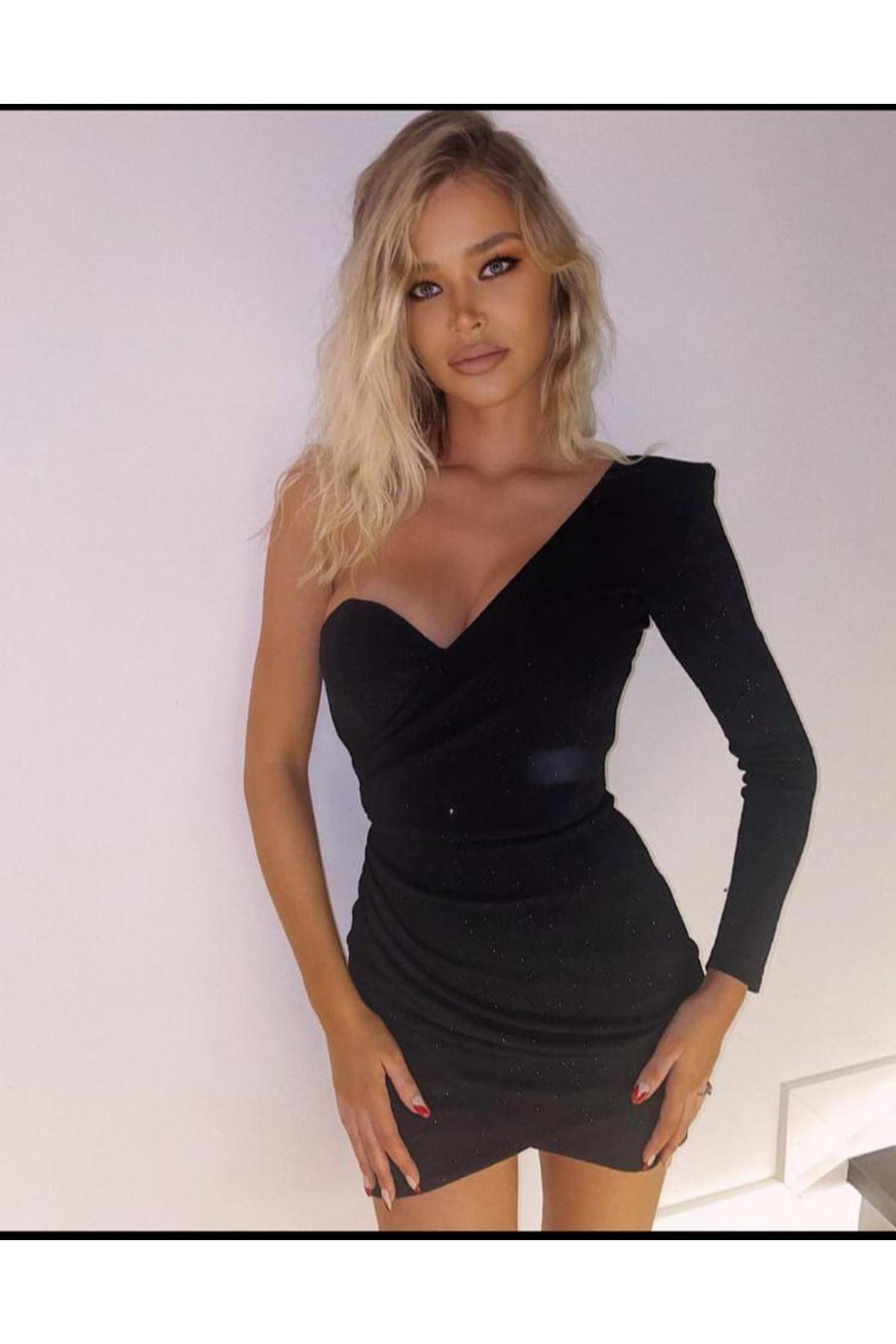 Göğsü Gloplu Simli Tek Kol Elbise - Siyah