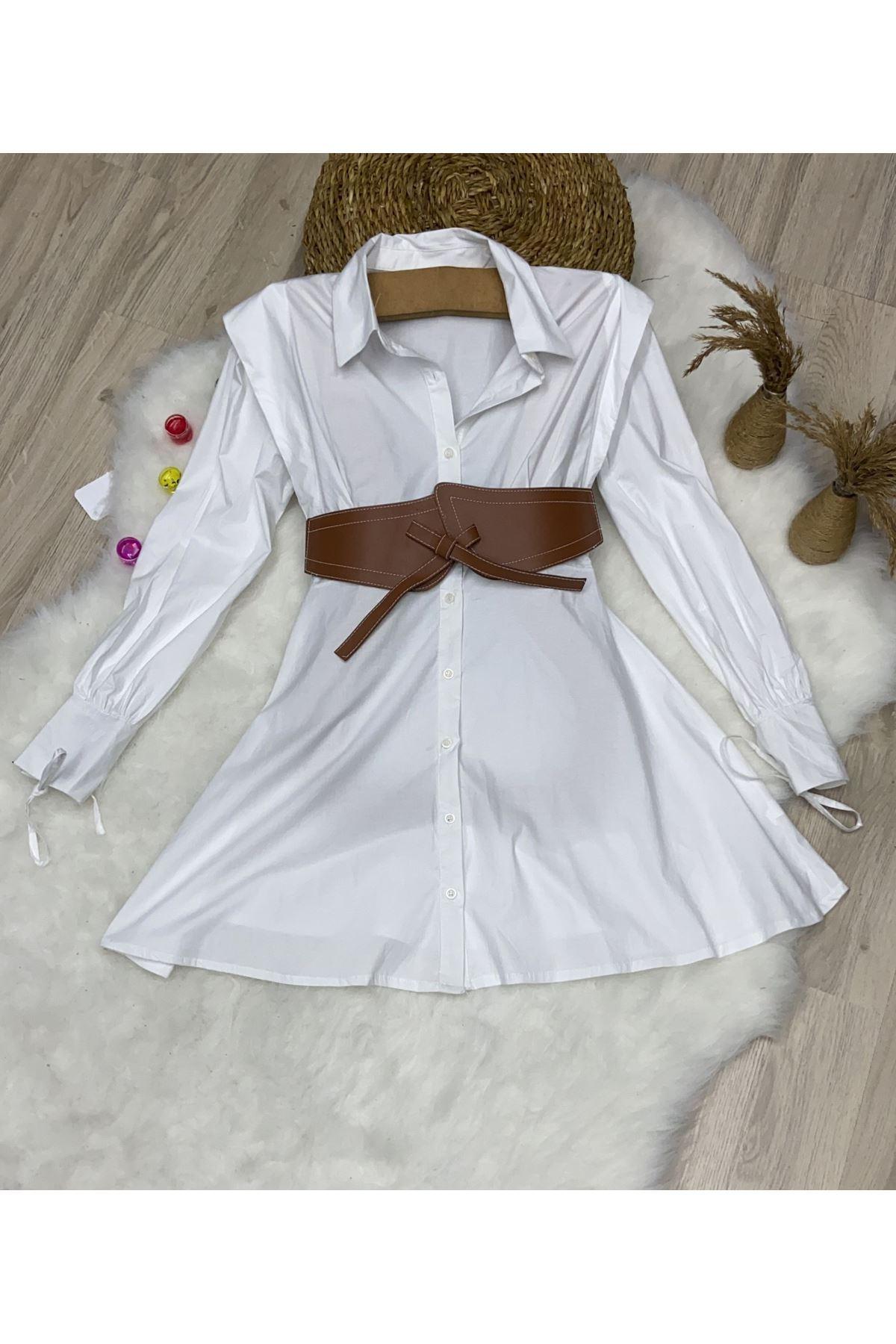 Poplin Kumaş Kemerli Gömlek Elbise - BEYAZ