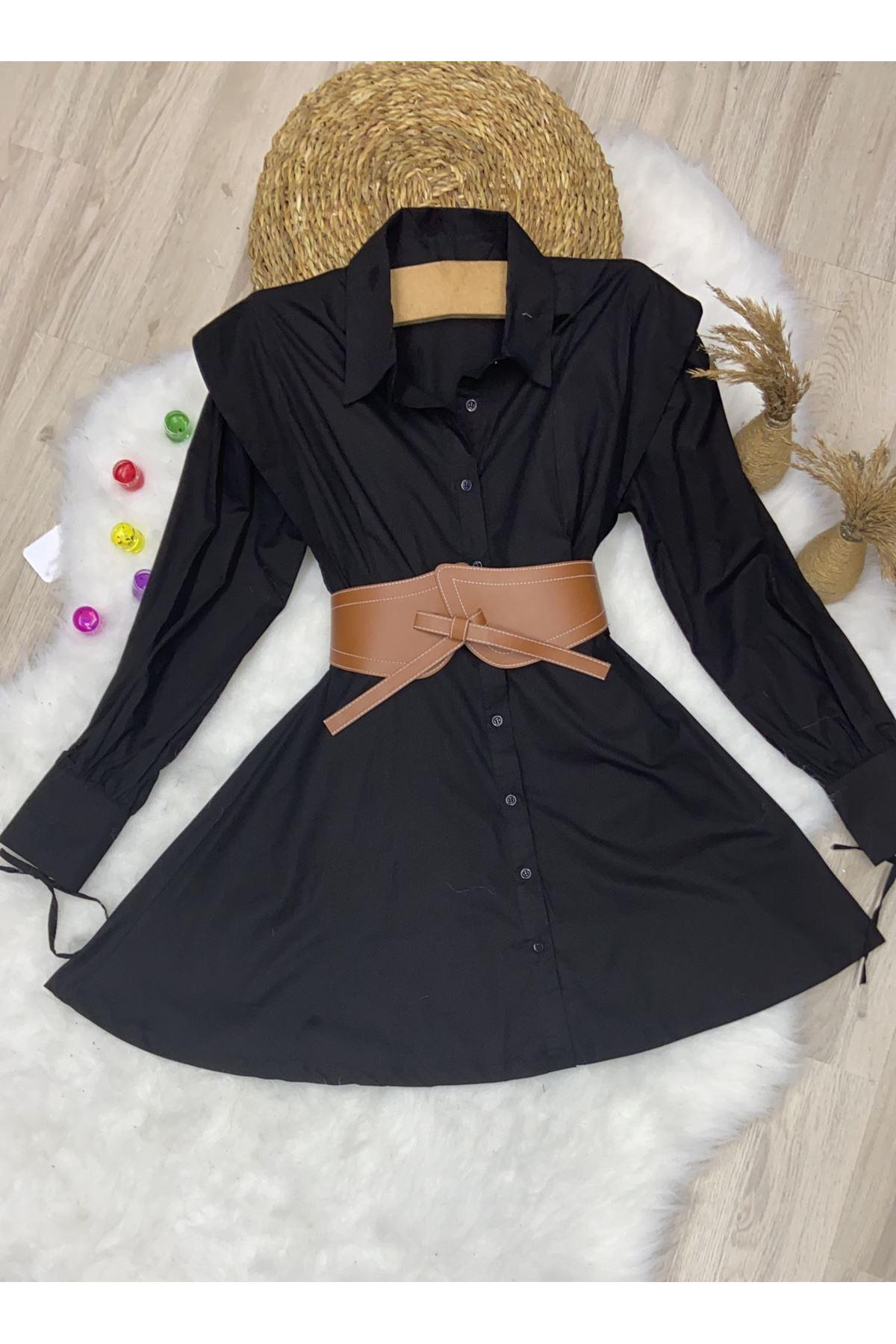 Poplin Kumaş Kemerli Gömlek Elbise - SİYAH