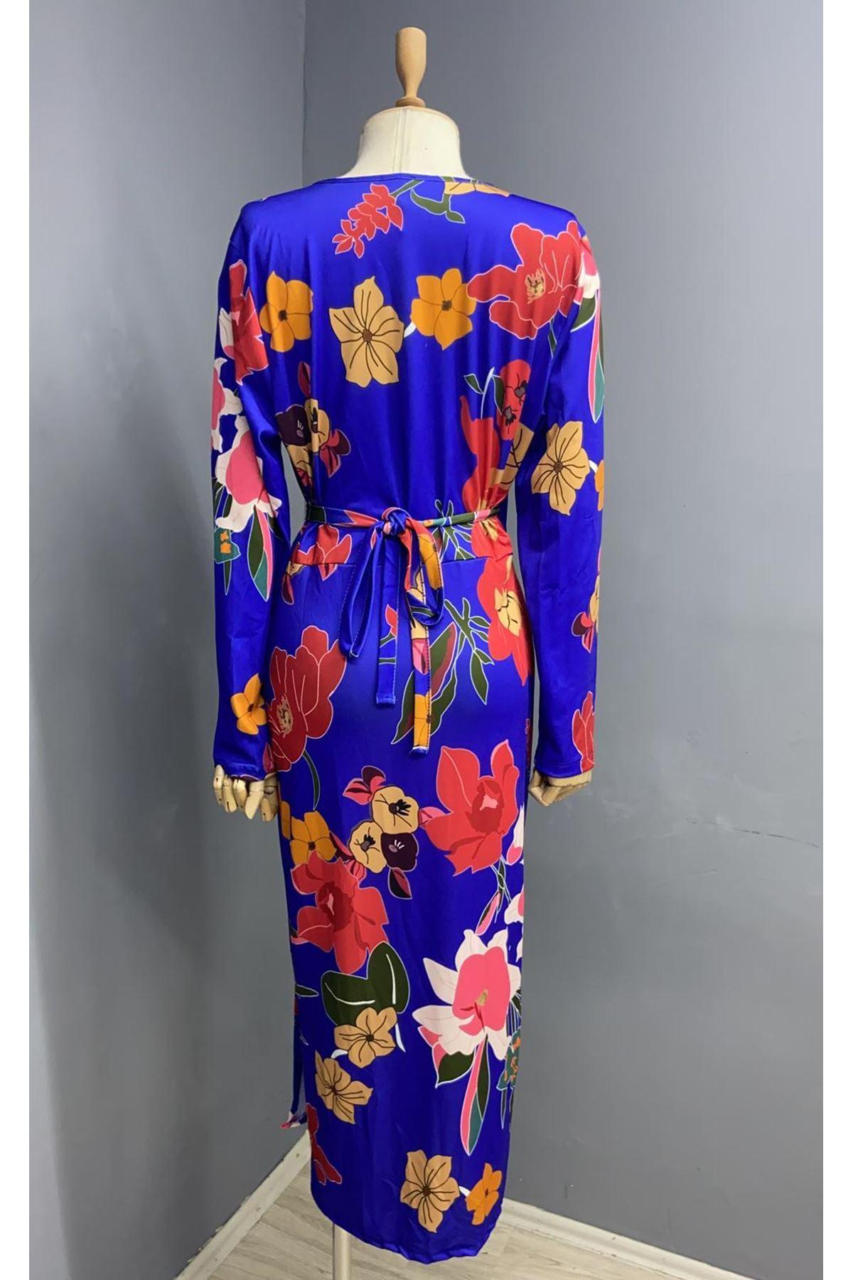 Zara Model Saten Elbise - MAVİ