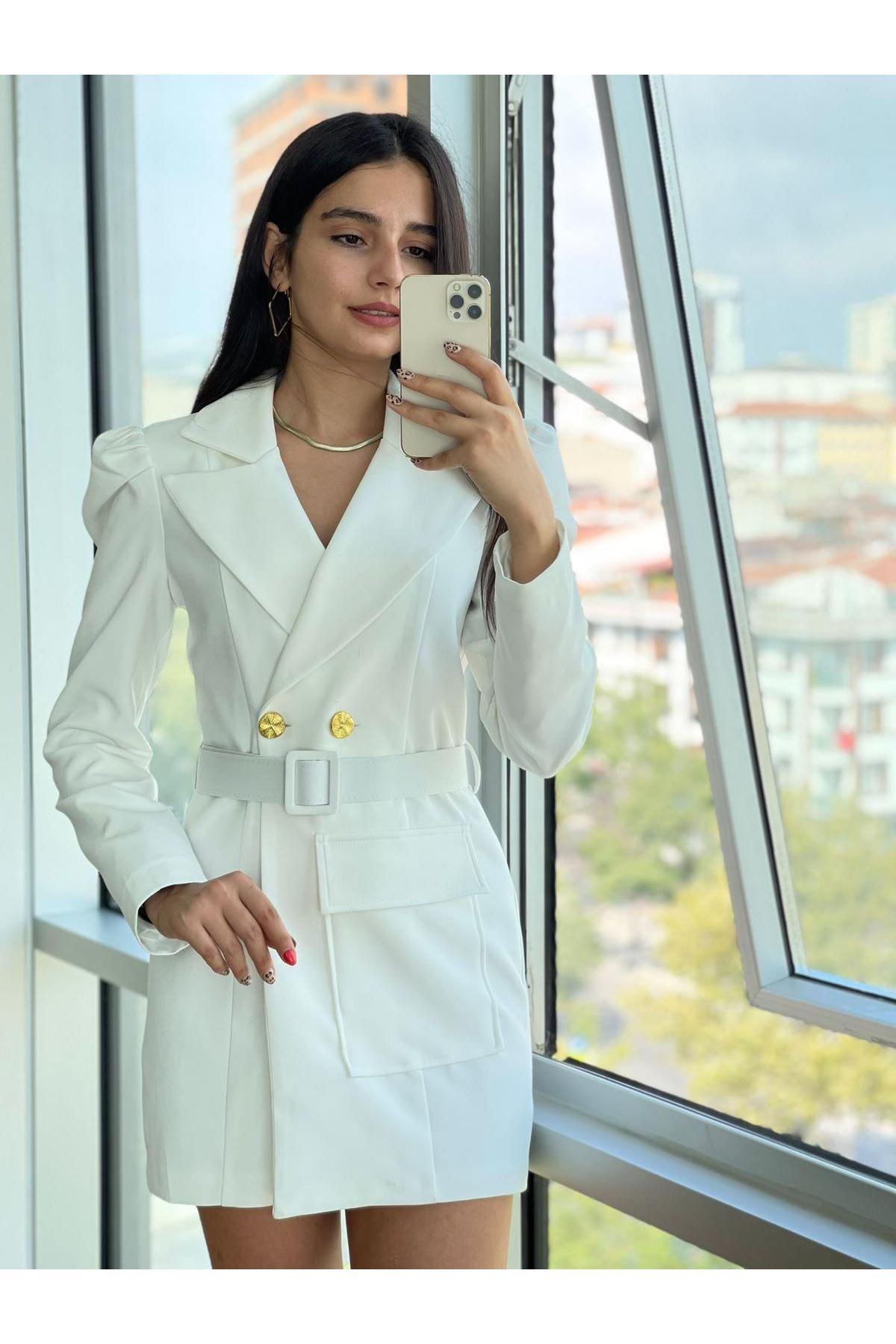 Zr Model Kemerli Ceket Elbise - BEYAZ