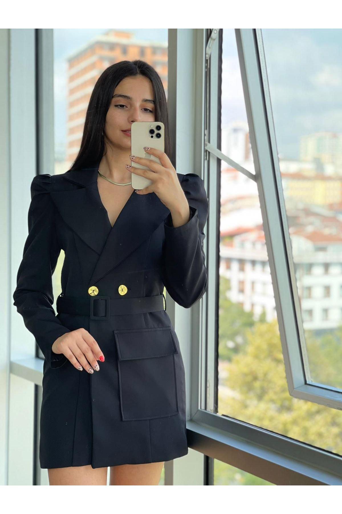 Zr Model Kemerli Ceket Elbise  - SİYAH