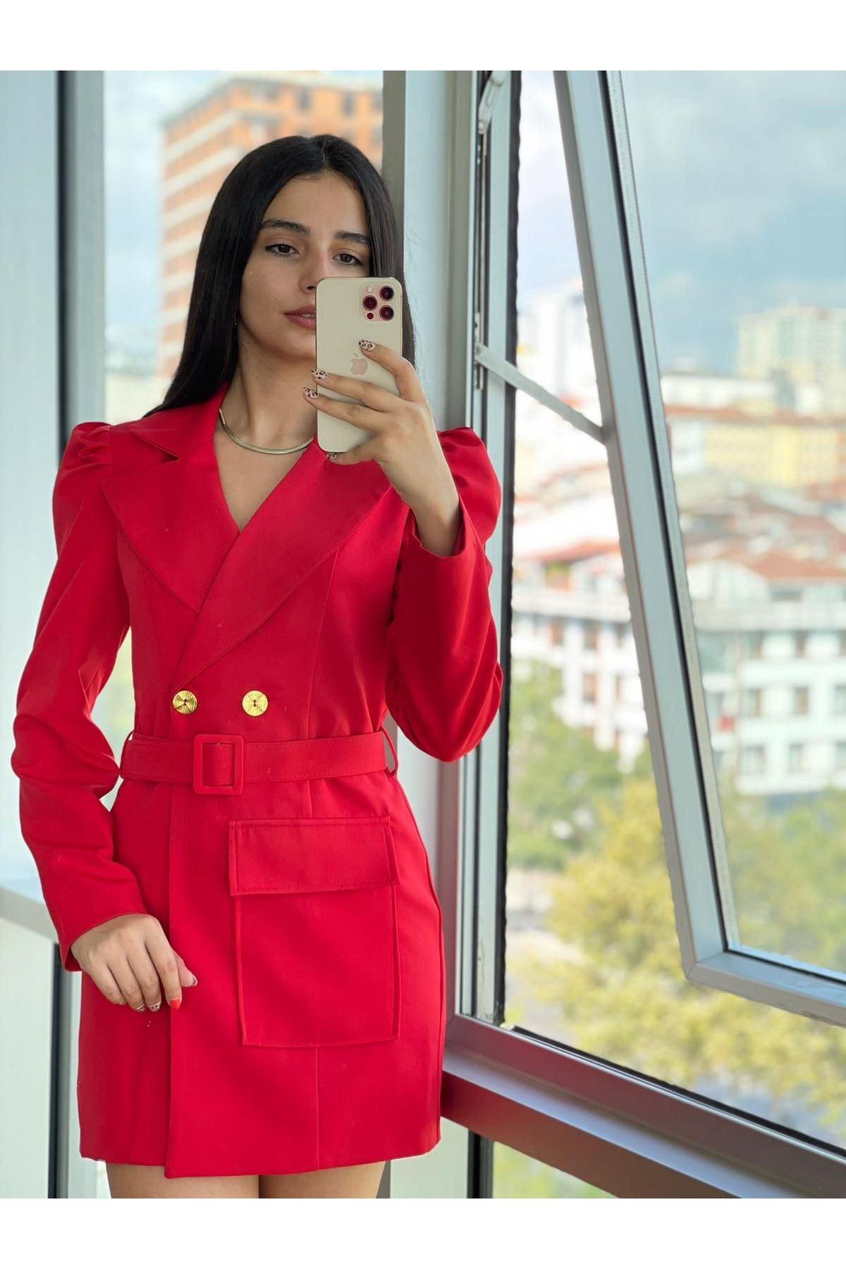 Zr Model Kemerli Ceket Elbise  - Kırmızı
