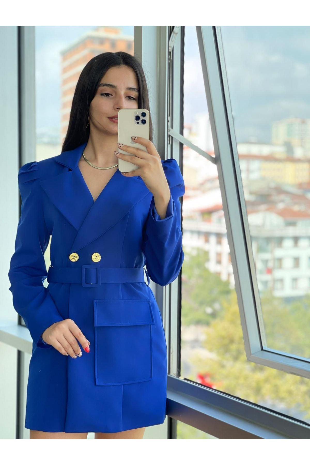 Zr Model Kemerli Ceket Elbise  - Sax